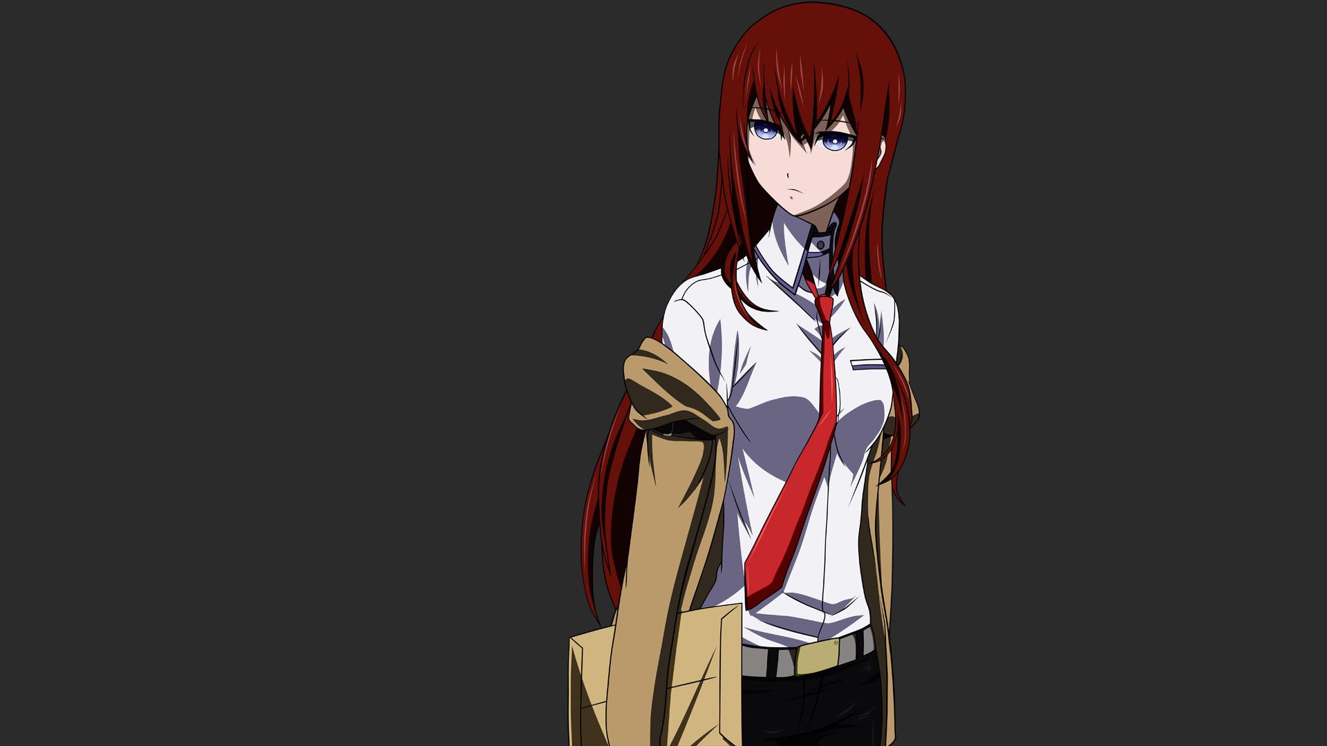 Anime Girls Makise Kurisu Simple Background SteinsGate Vectors