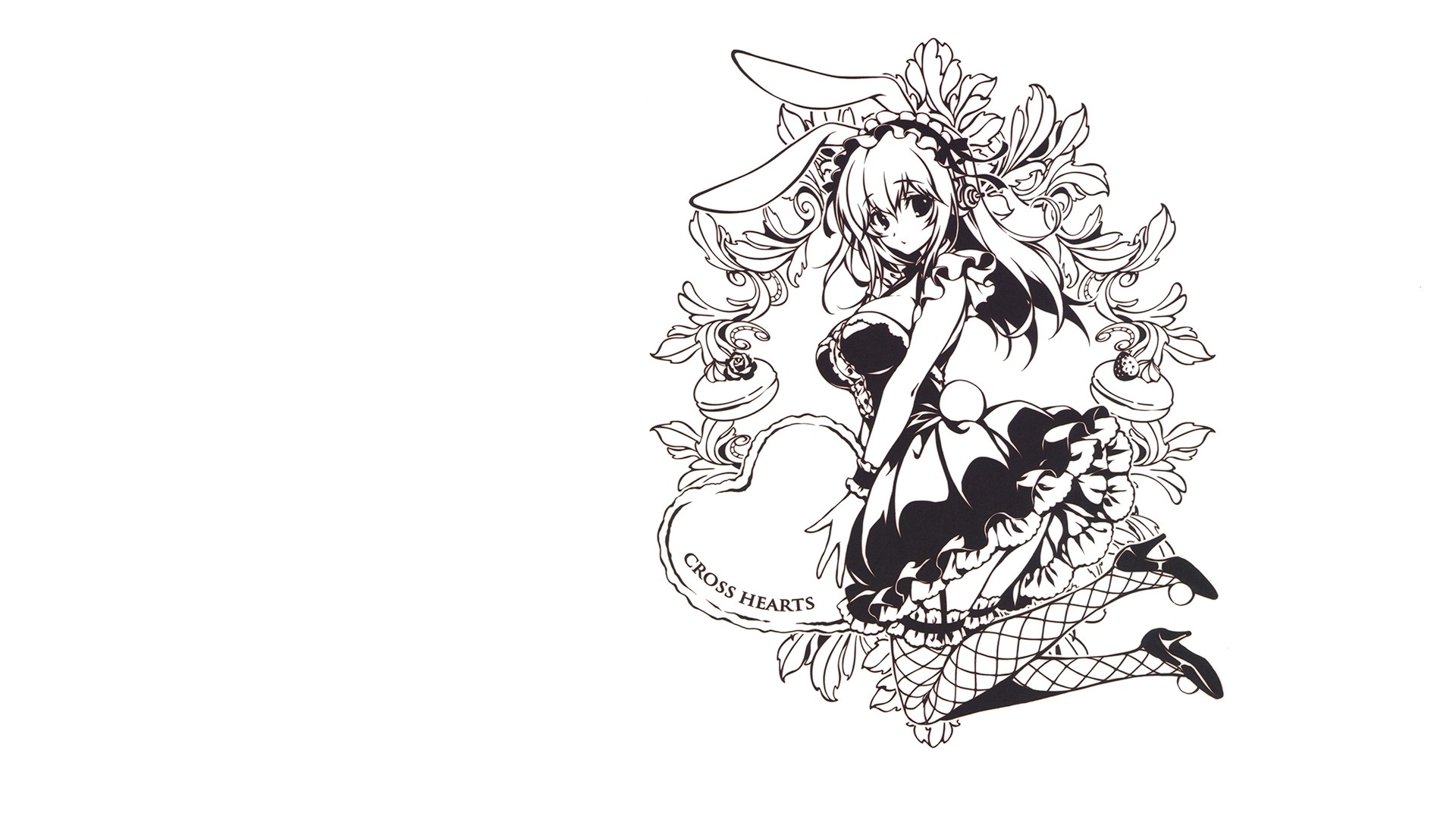 SoniAni: Super Sonico the Animation, Black And White, Maid, Bunny Ears,