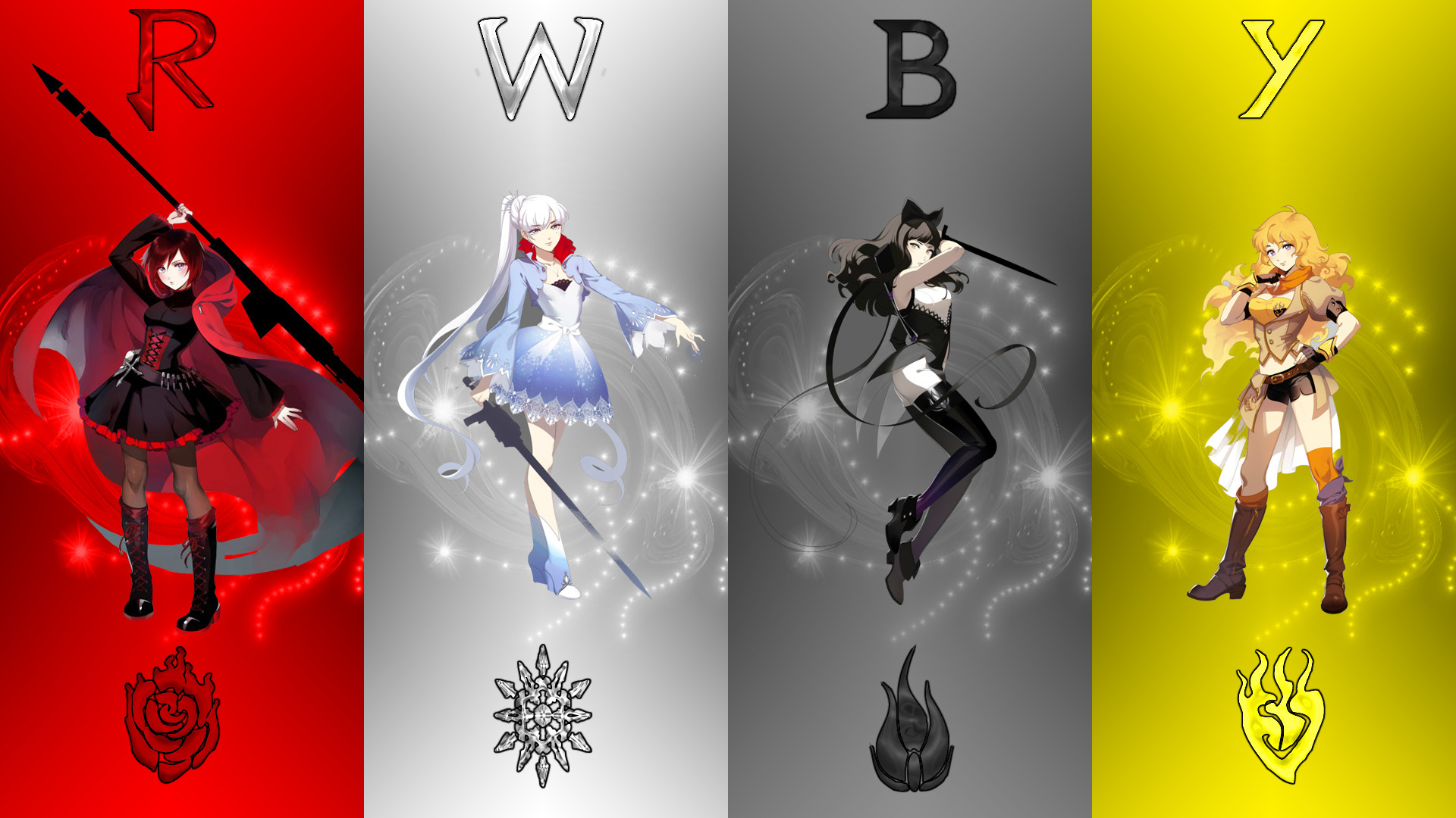 RWBY Ruby Rose Blake Belladonna Yang Xiao Long Weiss Schnee Rooster Teeth  Red Yellow Black White Ice Cartoons …