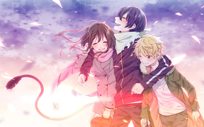 Noragami, Iki Hiyori, Yato, Yukine, Leaves, Happy Moments