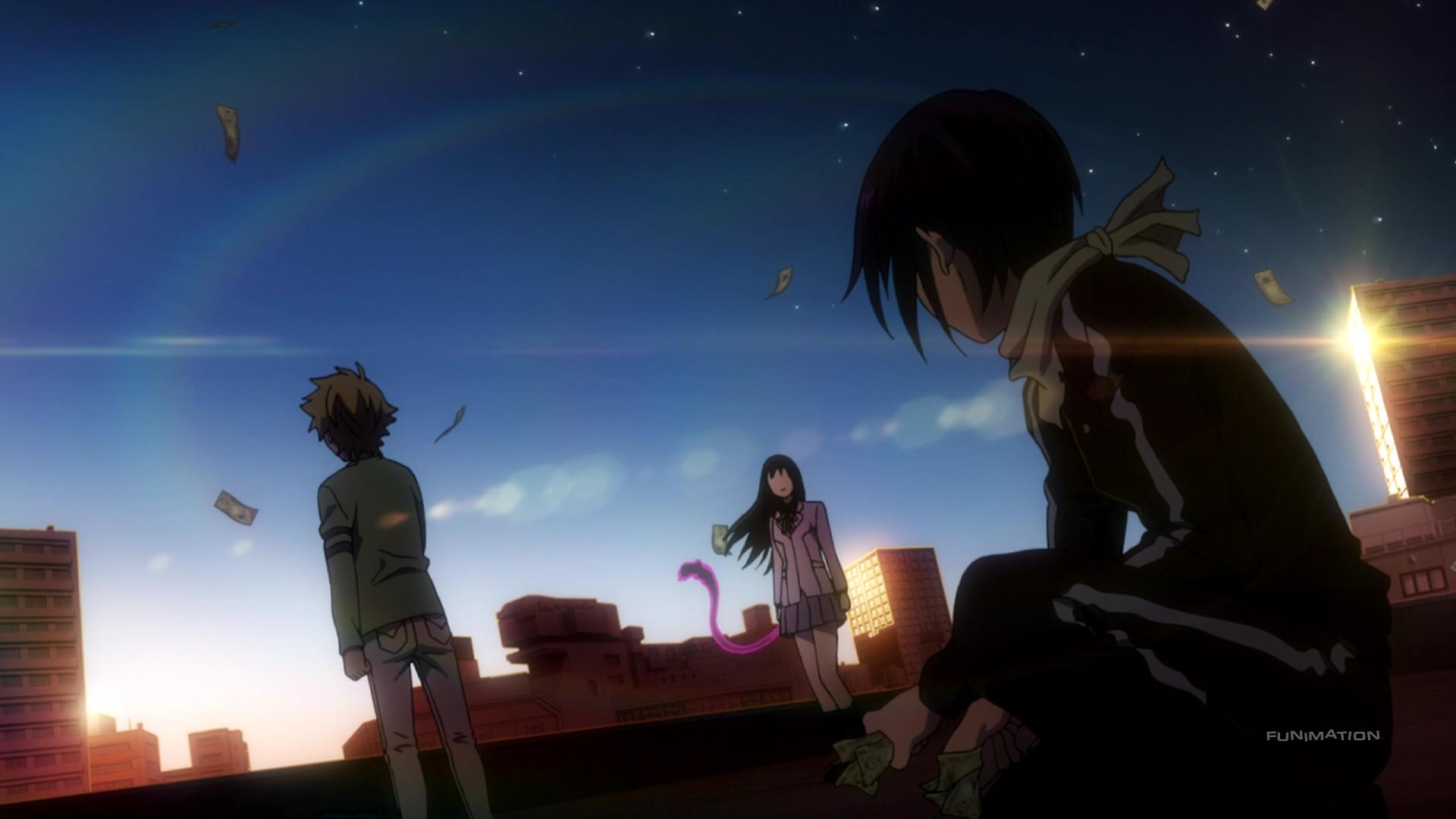 Noragami Aragoto / Episode 7 / Yato, Hiyori, and Yukine standing on a  rooftop