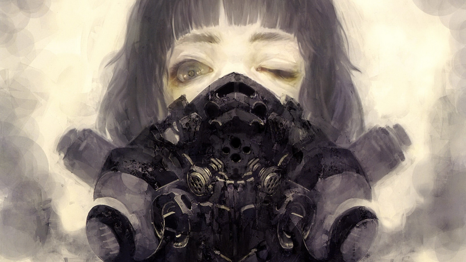 creepy anime girl in a weird scary-looking mask, black hair, brown eyes.