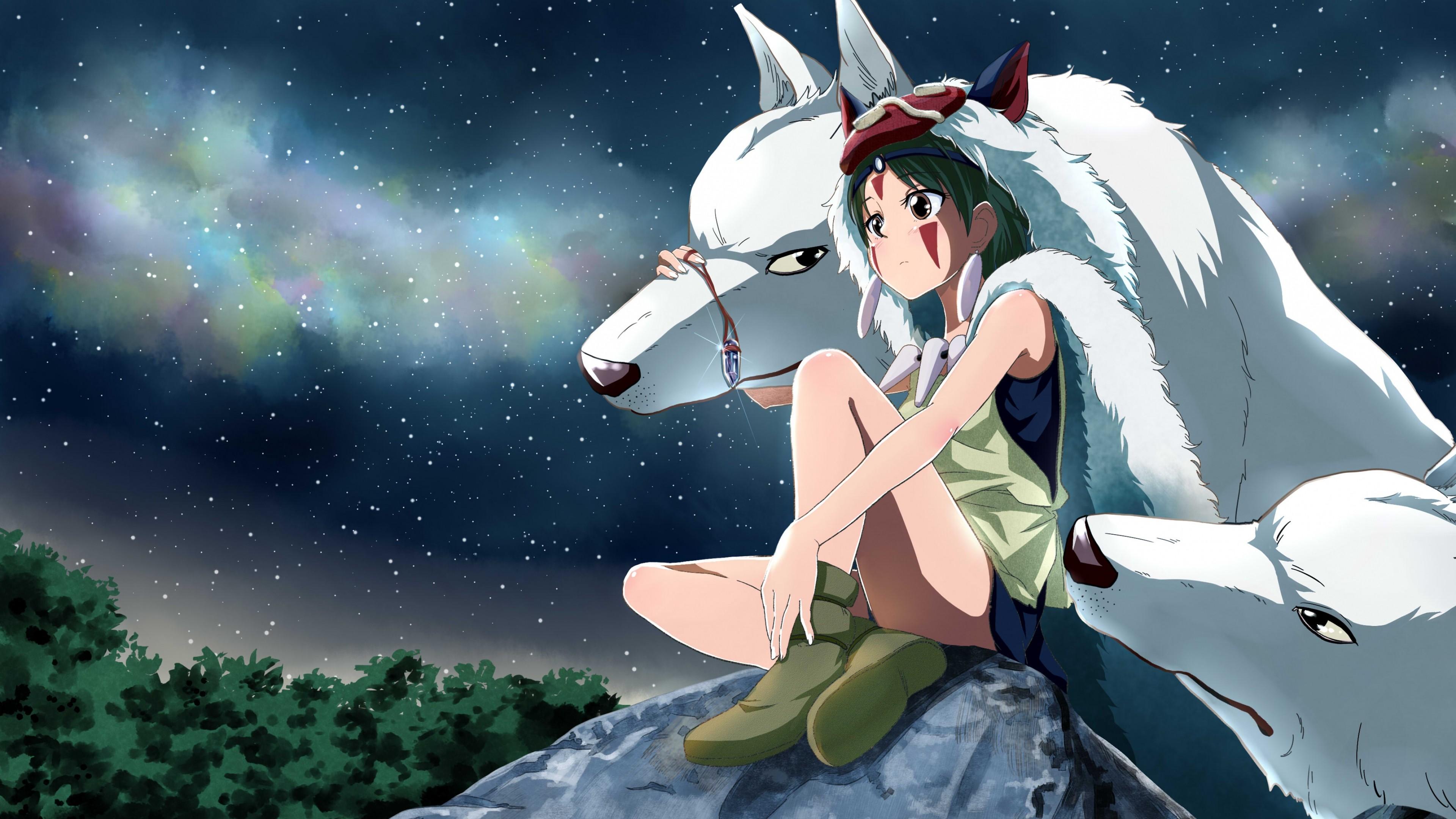 Preview wallpaper princess mononoke, hayao miyazaki, wolf 3840×2160