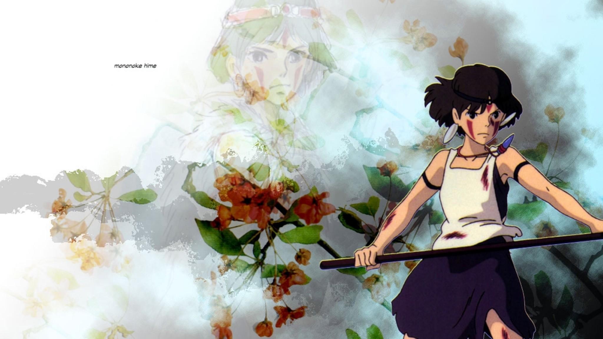 Wallpaper princess mononoke, girl, sword, blow, weapons,  preparedness, flowers