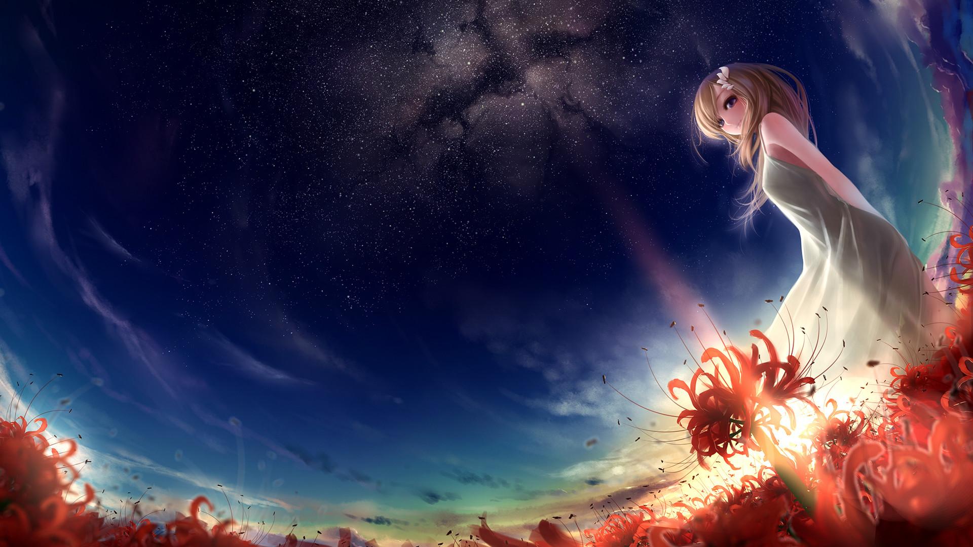 Anime Girls wallpapers: Enlightened by stars