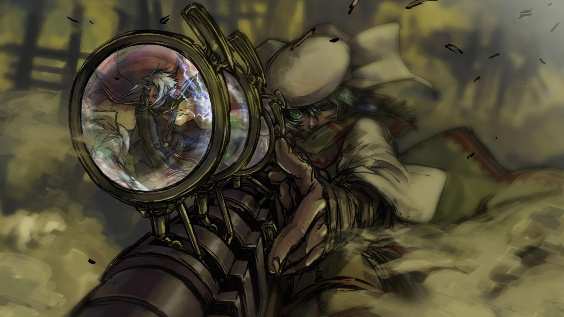 Steampunk mechanical sniper weapons guns anime wallpaper | .
