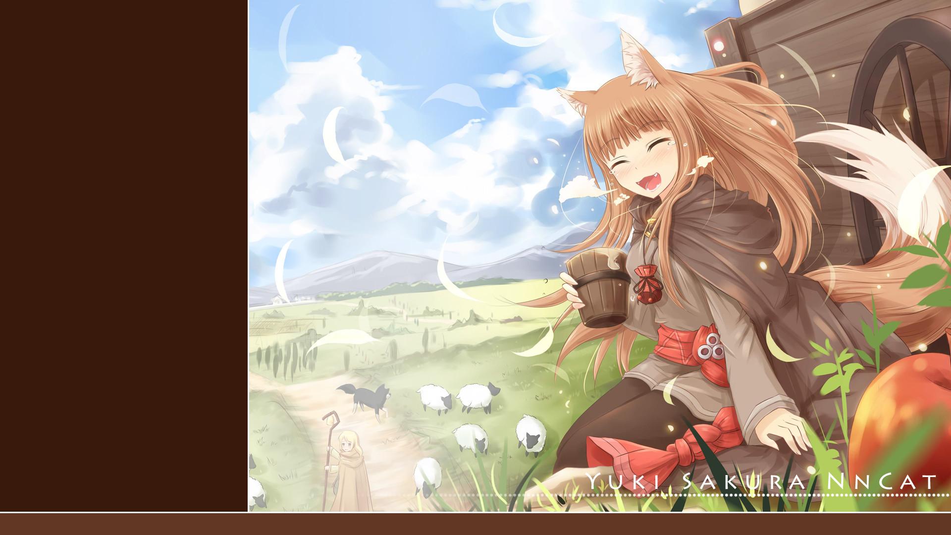 Tags: Anime, Nncat, Ookami to Koushinryou, Horo, Nora Arendt, Wallpaper
