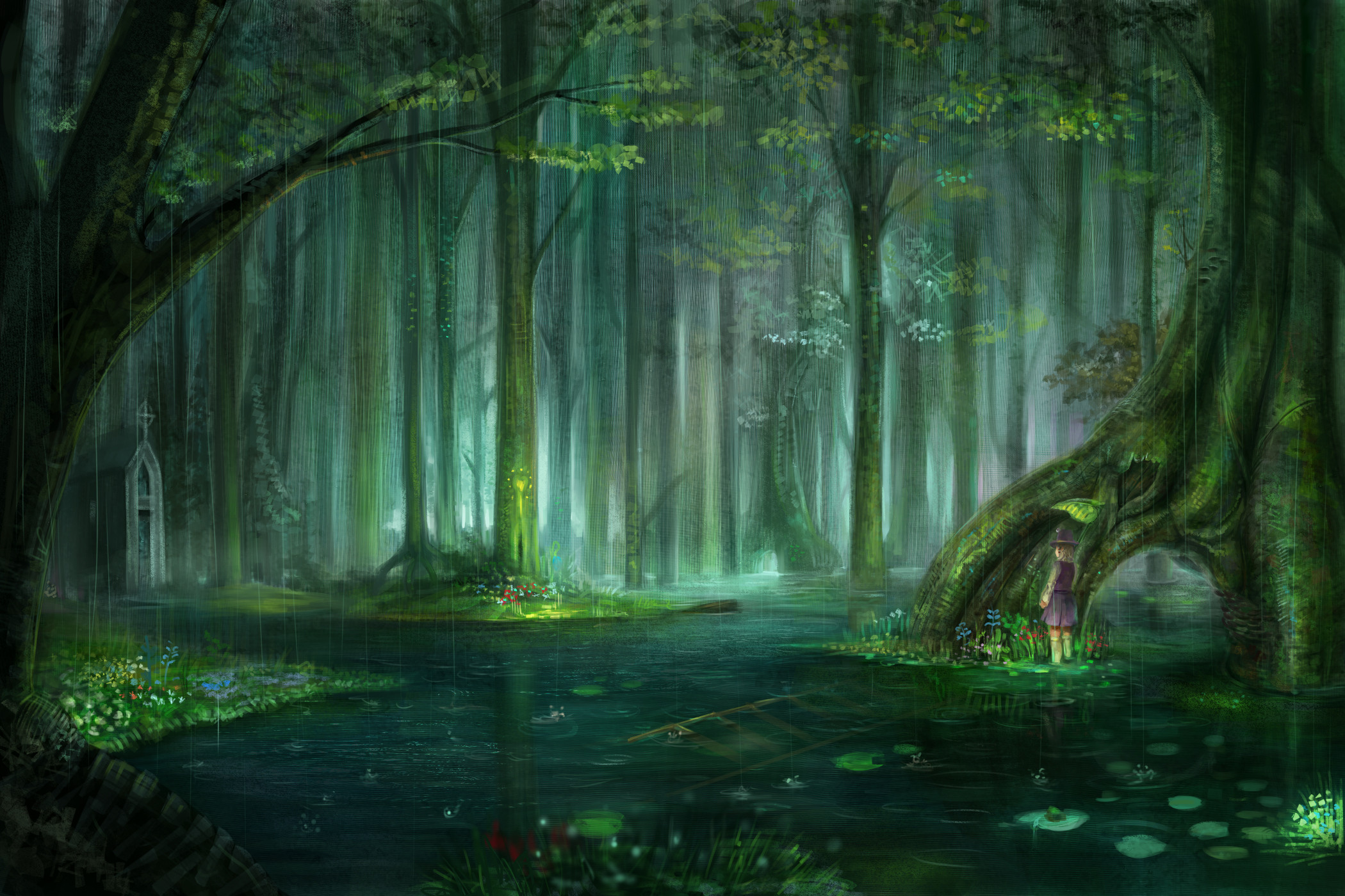 Blondes water landscapes nature touhou trees rain flowers forest leaves  pond plants short hair scenic moriya suwako chapel anime raindrops l.