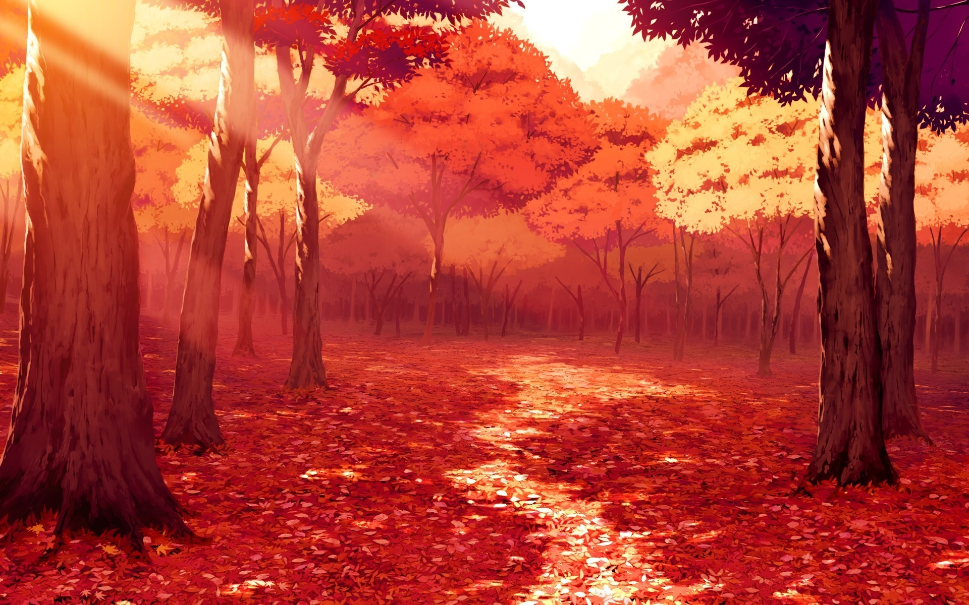 drawing, Artwork, Fall, Leaves, Sunlight, Forest, Red, Anime Wallpapers HD  / Desktop and Mobile Backgrounds