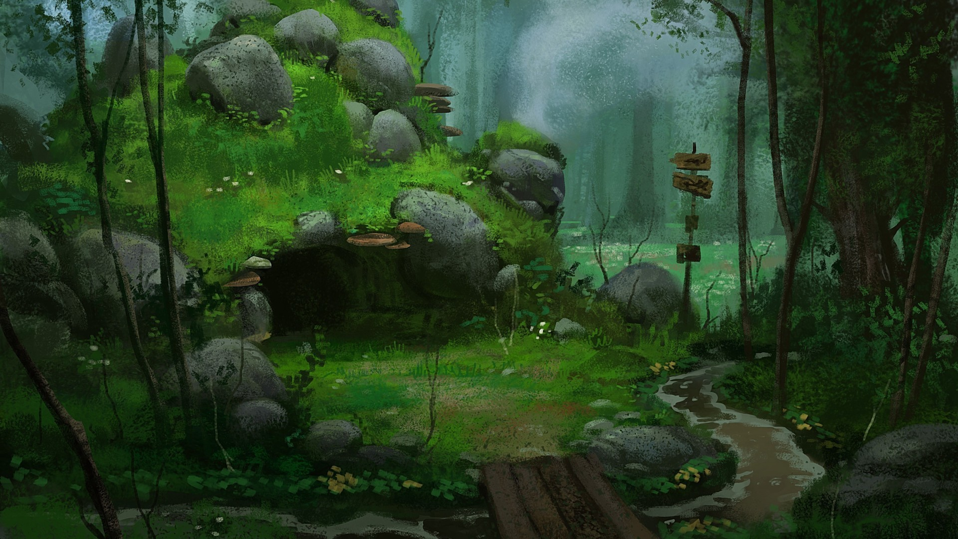 Anime Forest Background wallpaper