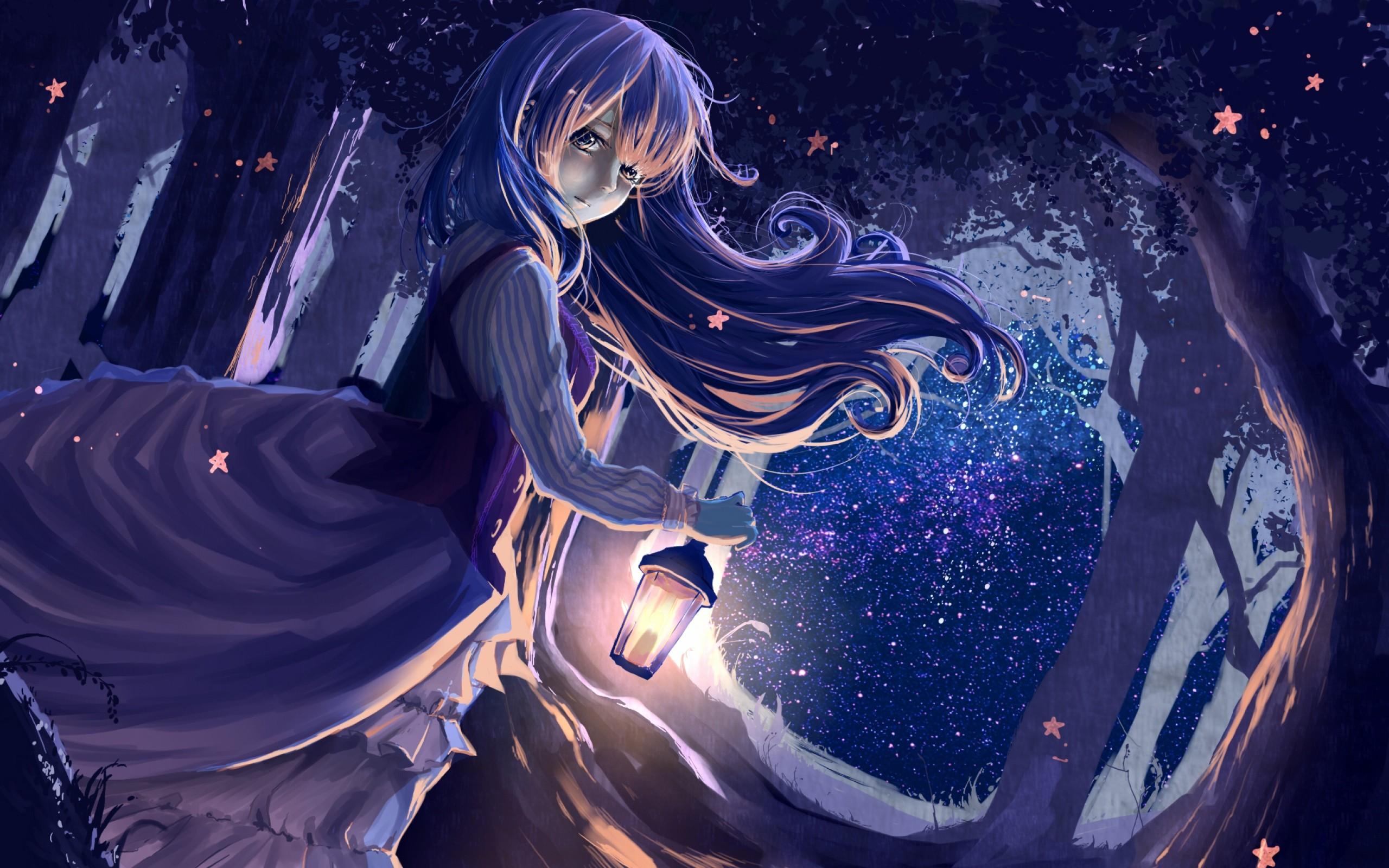 Wallpaper girl, anime, lantern, forest, night