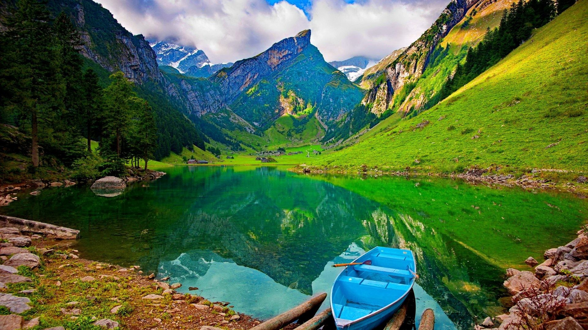 Lakes – Lonely Boat Mountain Lake Hills Emerald Grass Slopes Clear  Lakeshore Sky Nice Summer Nature