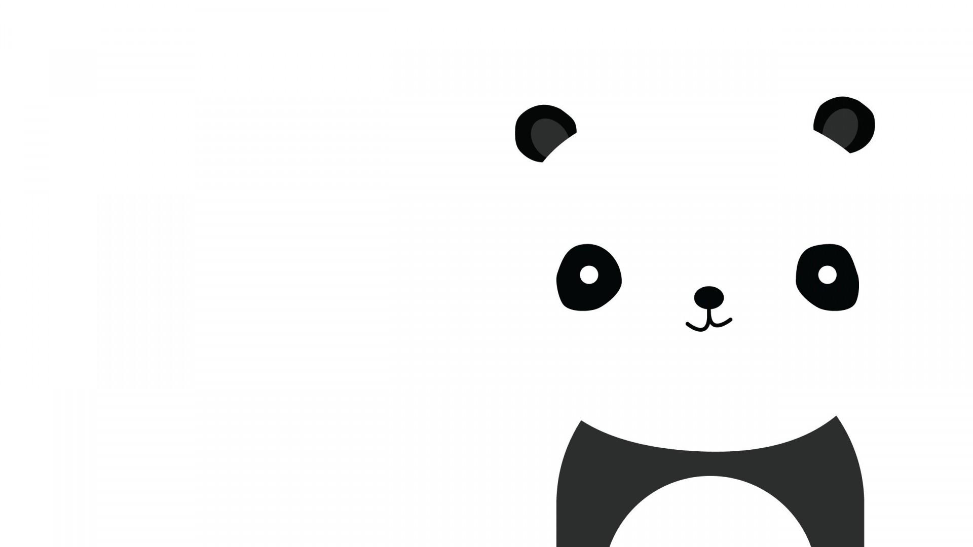 Wallpaper panda, smile, white, black, minimalist
