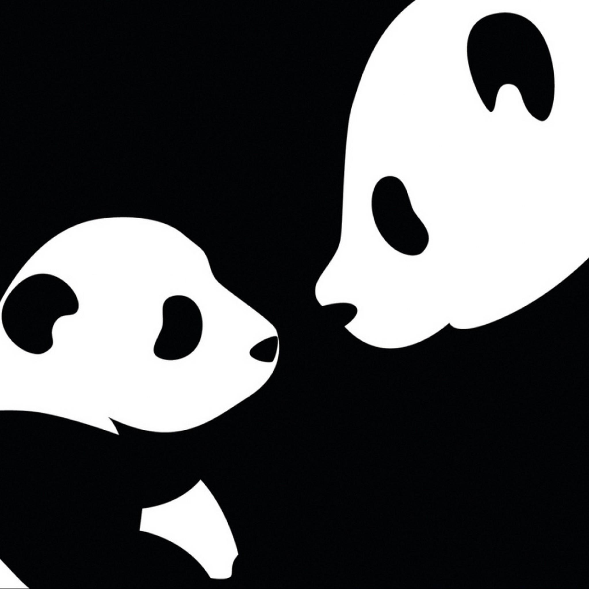 Preview wallpaper panda, drawing, black, white 2048×2048
