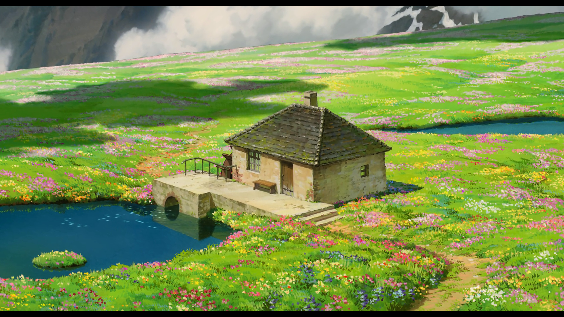 Anime anime Studio Ghibli landscape house water field cottage  flowers peaceful Howl's Moving Castle