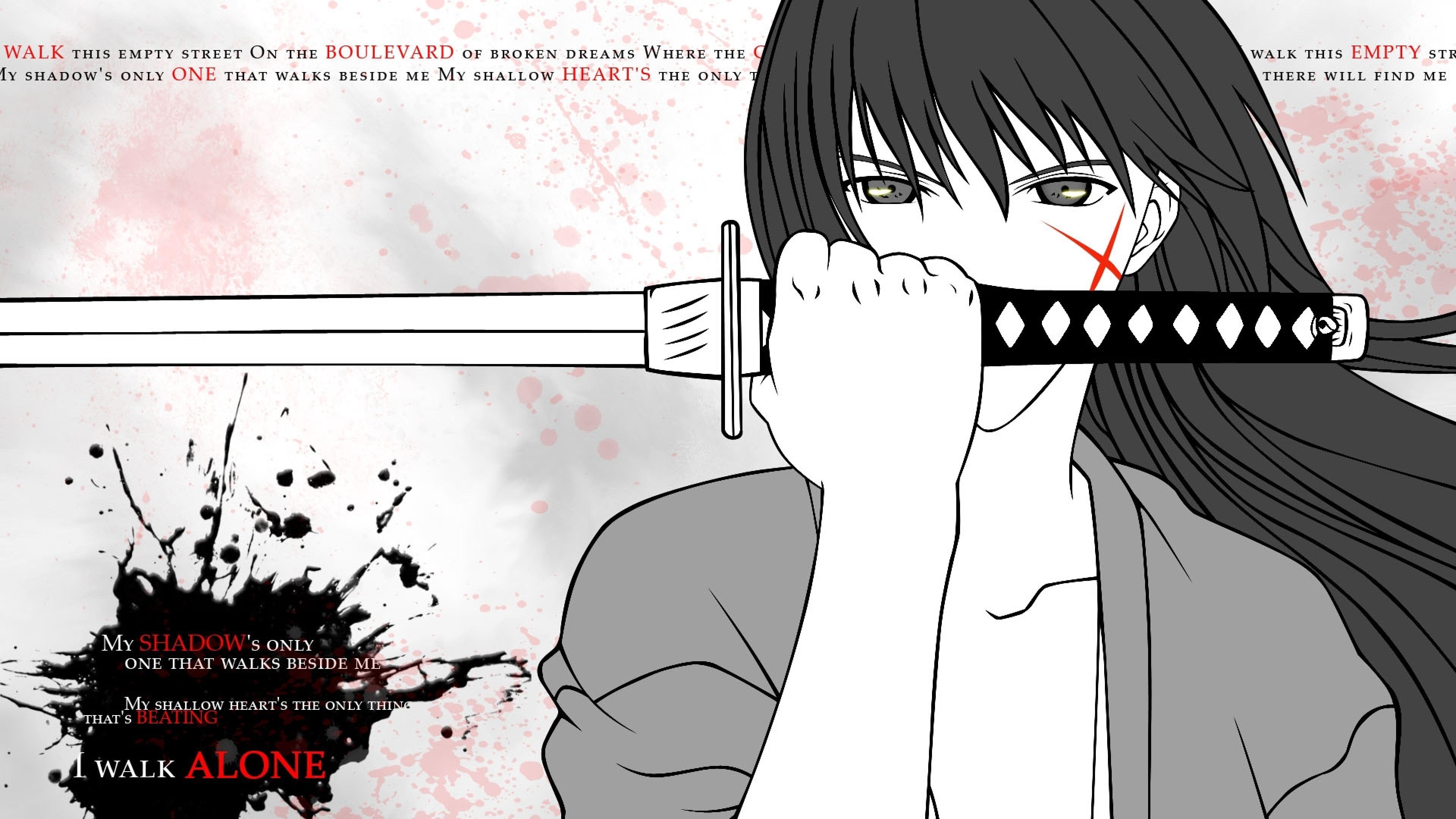 Wallpaper rurouni kenshin, himura kenshin, girl, brunette, sword,  scar