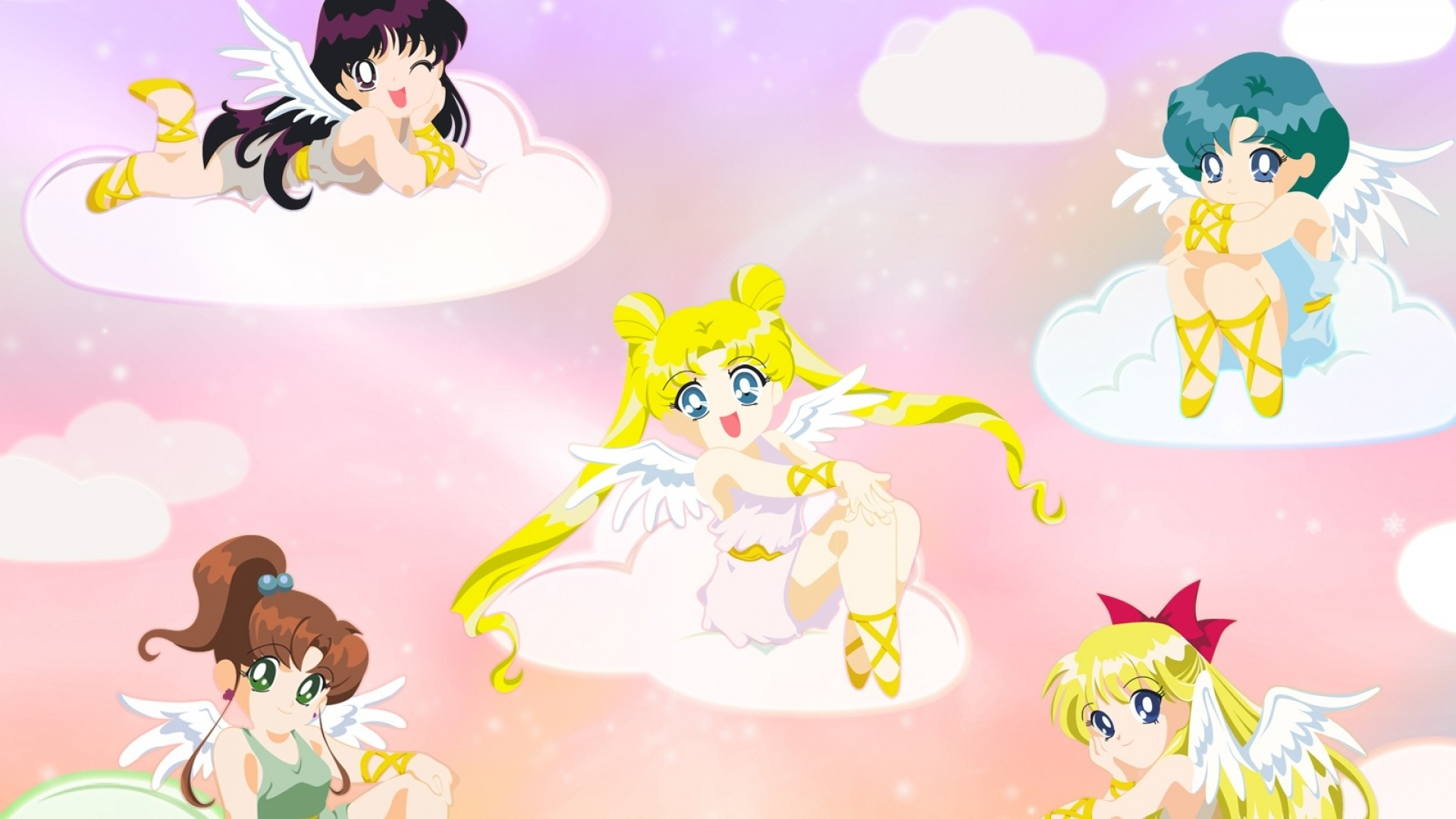 Preview wallpaper sailor moon, girls, clouds, smiles, angels, wings  1920×1080