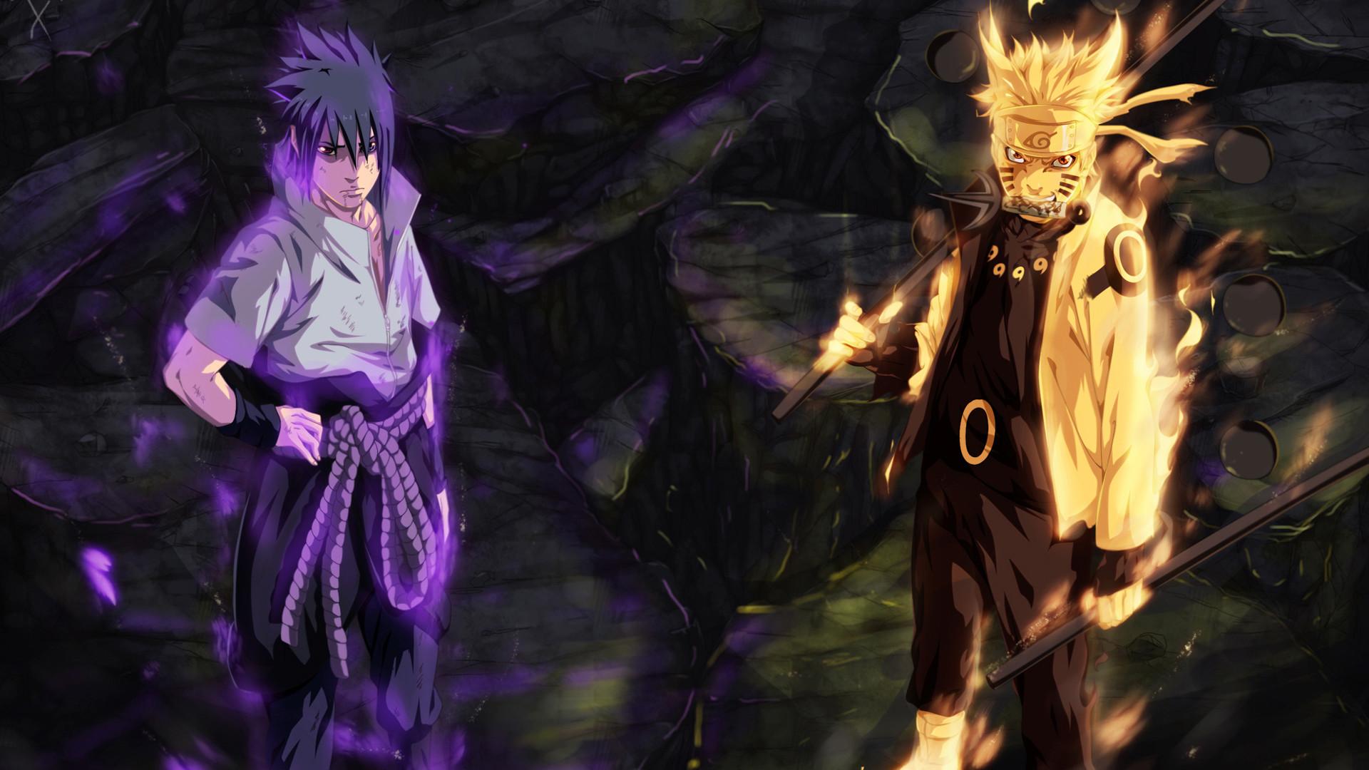 sasuke uchiha sharingan and rinnegan eyes and naruto uzumaki sage of six  path art anime hd