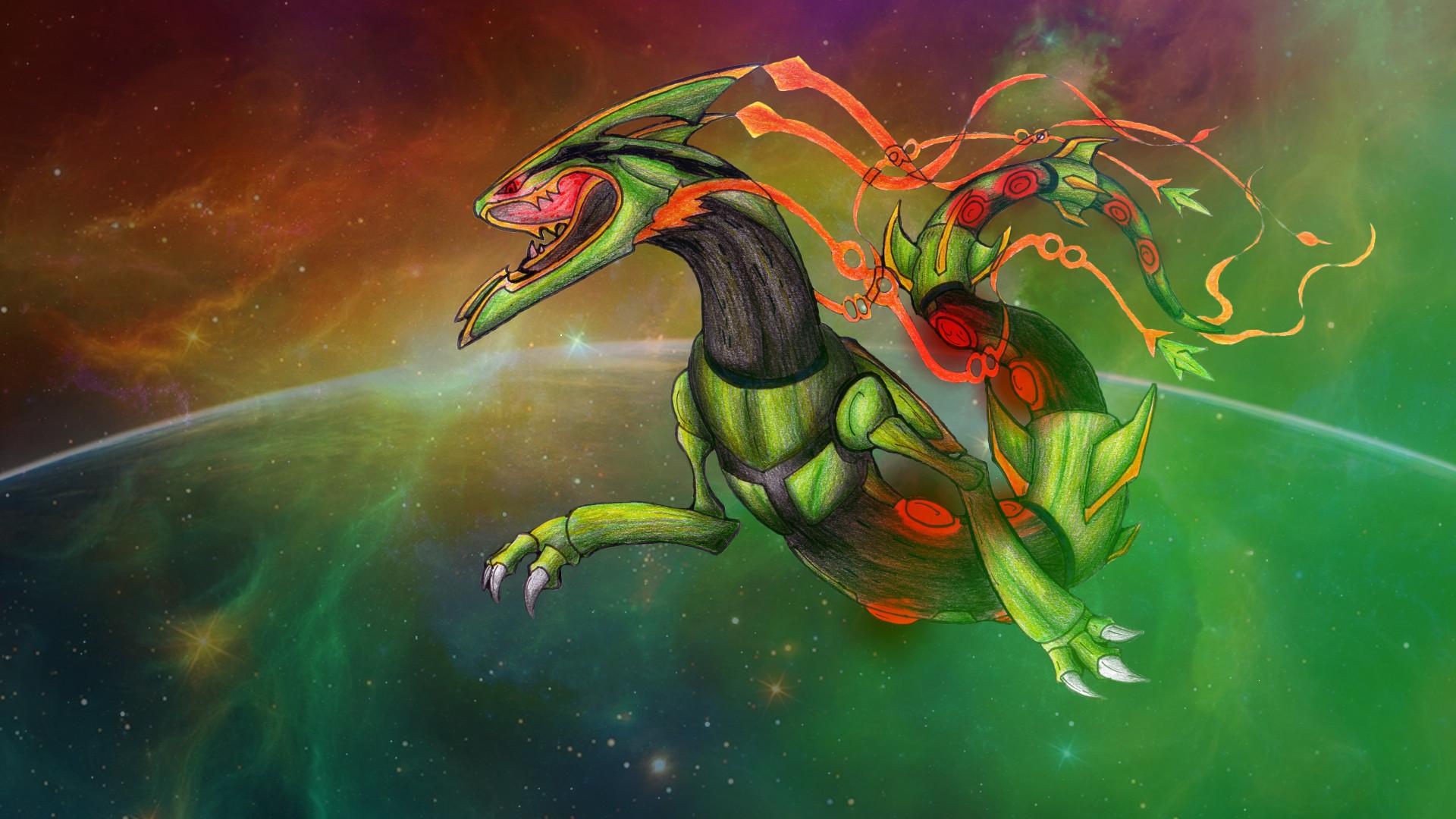 … Space Roar (Mega-Rayquaza FanArt)-Wallpaper by lululock71