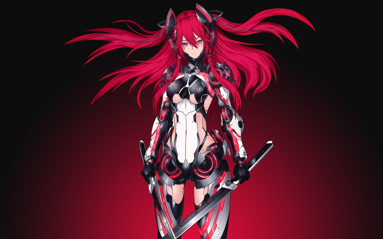 Anime. Mecha Girl, Red, Warrior, Katana, 4K