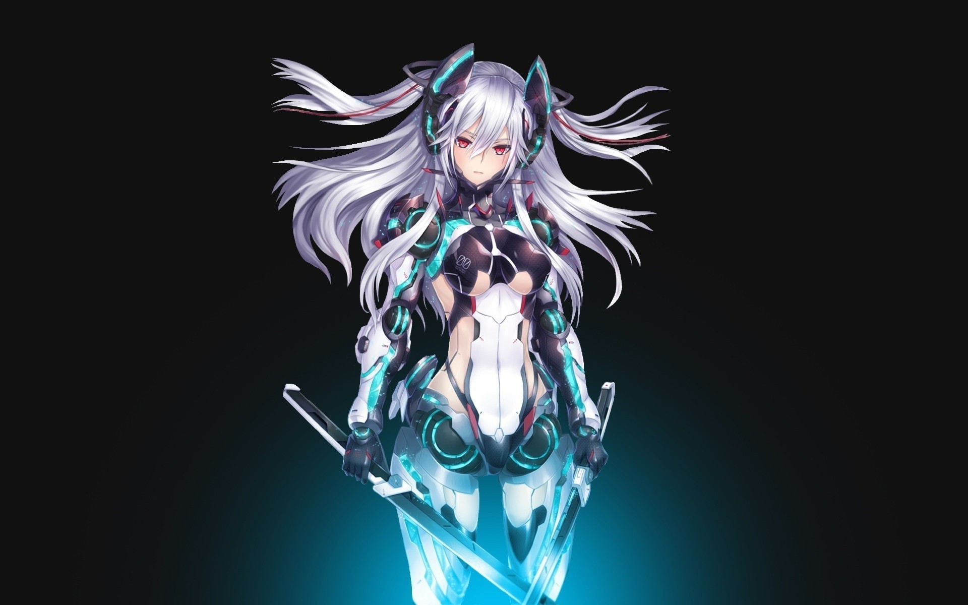 mecha Girls, Anime Girls, Silver Hair, Sword, Red Eyes Wallpapers HD /  Desktop and Mobile Backgrounds