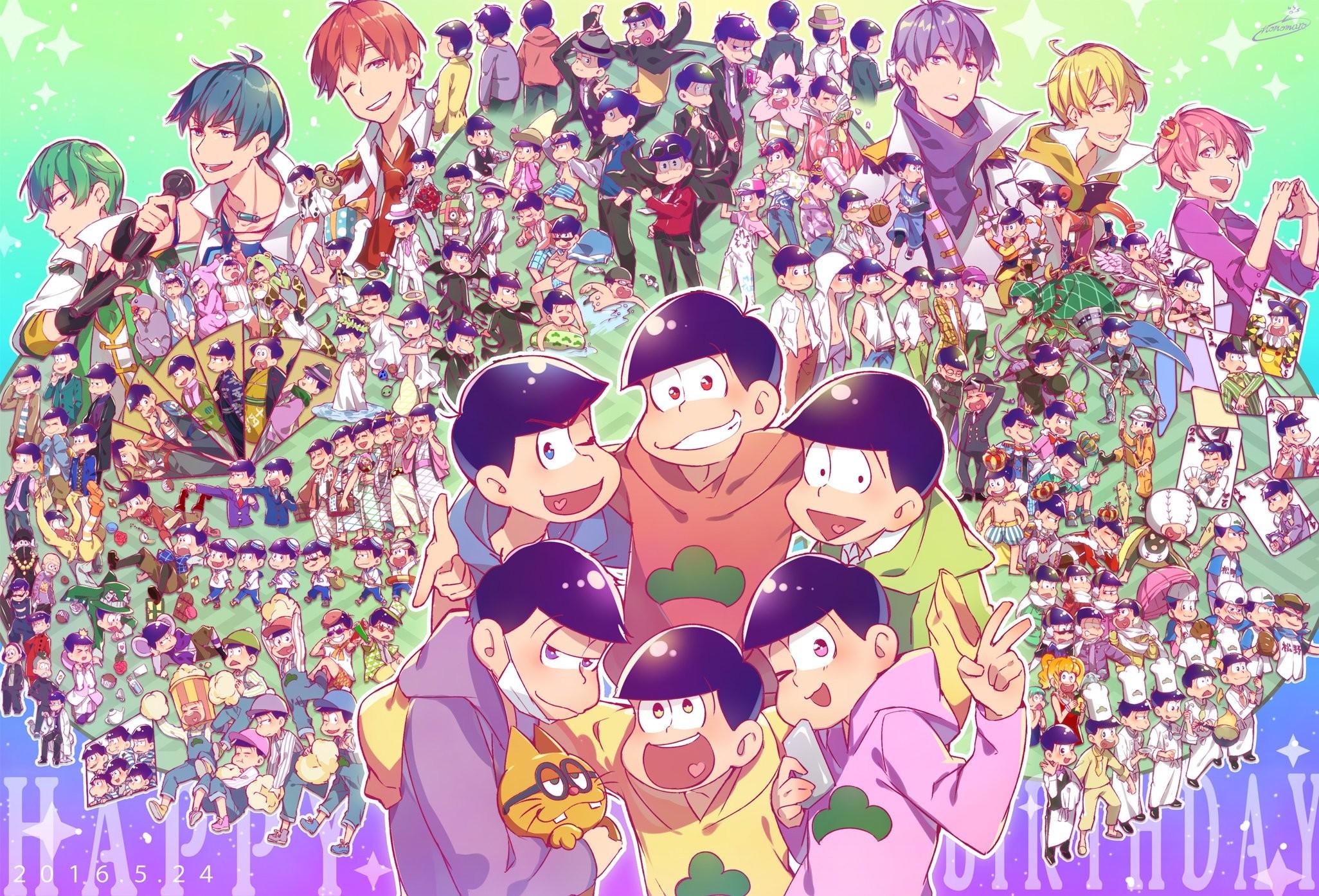 Osomatsu-kun Matsuno Todomatsu Matsuno Karamatsu Matsuno Juushimatsu  Matsuno Choromatsu wallpaper
