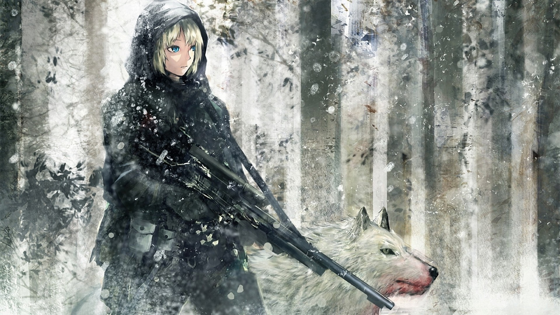 Sniper Anime Girl with Wolves Wallpapers