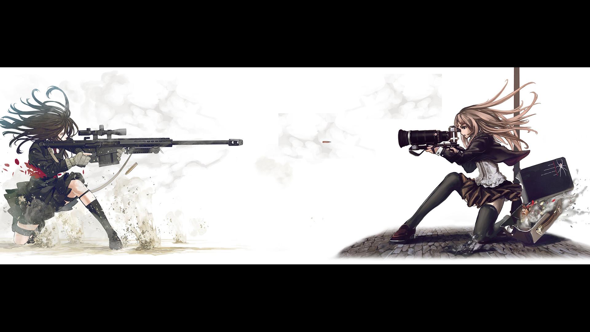school uniforms, snipers, Speed Grapher, cameras, anime, simple background  – Free Wallpaper / WallpaperJam.com