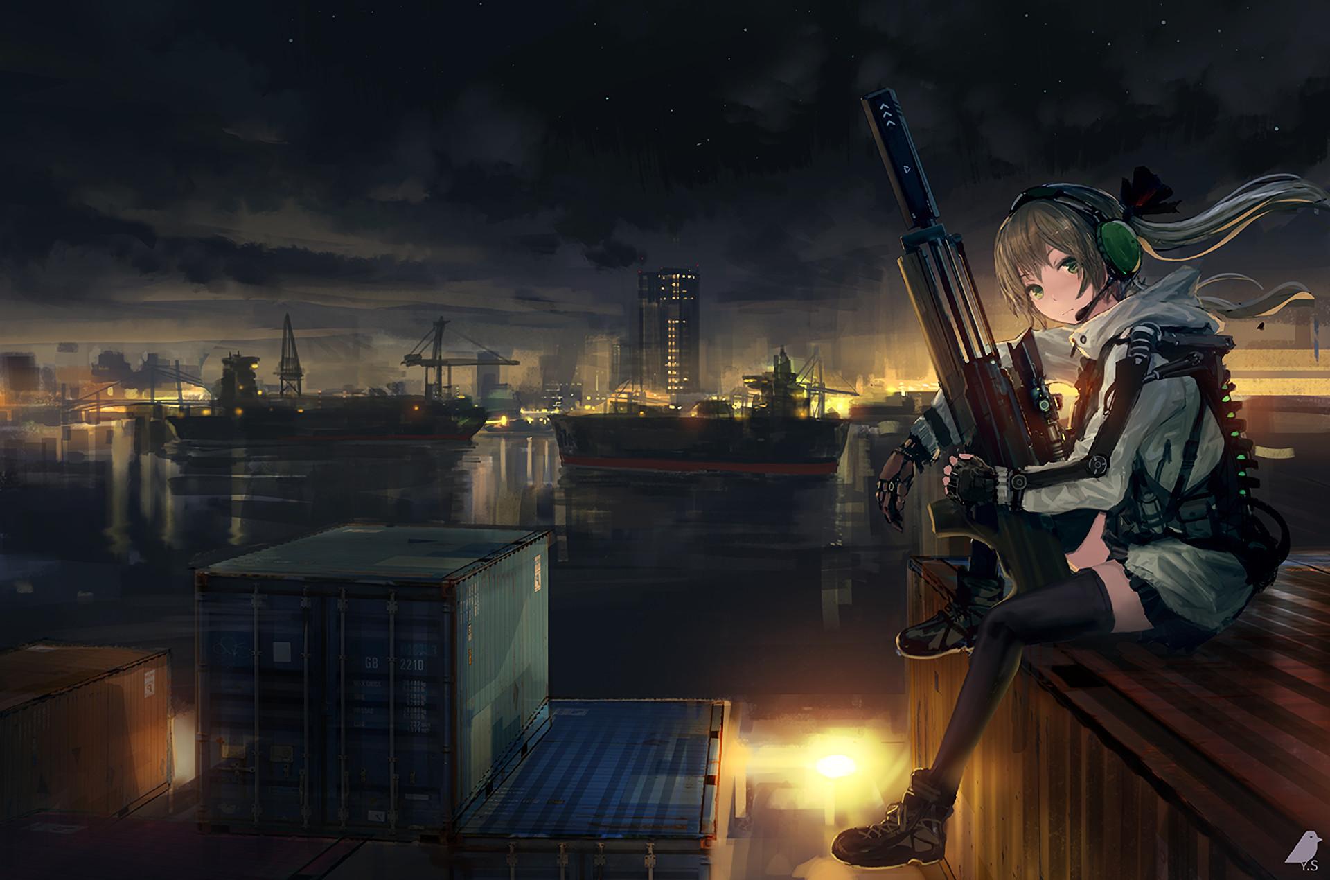 – anime girl, soldier, sitting, sniper, artwork # original  resolution