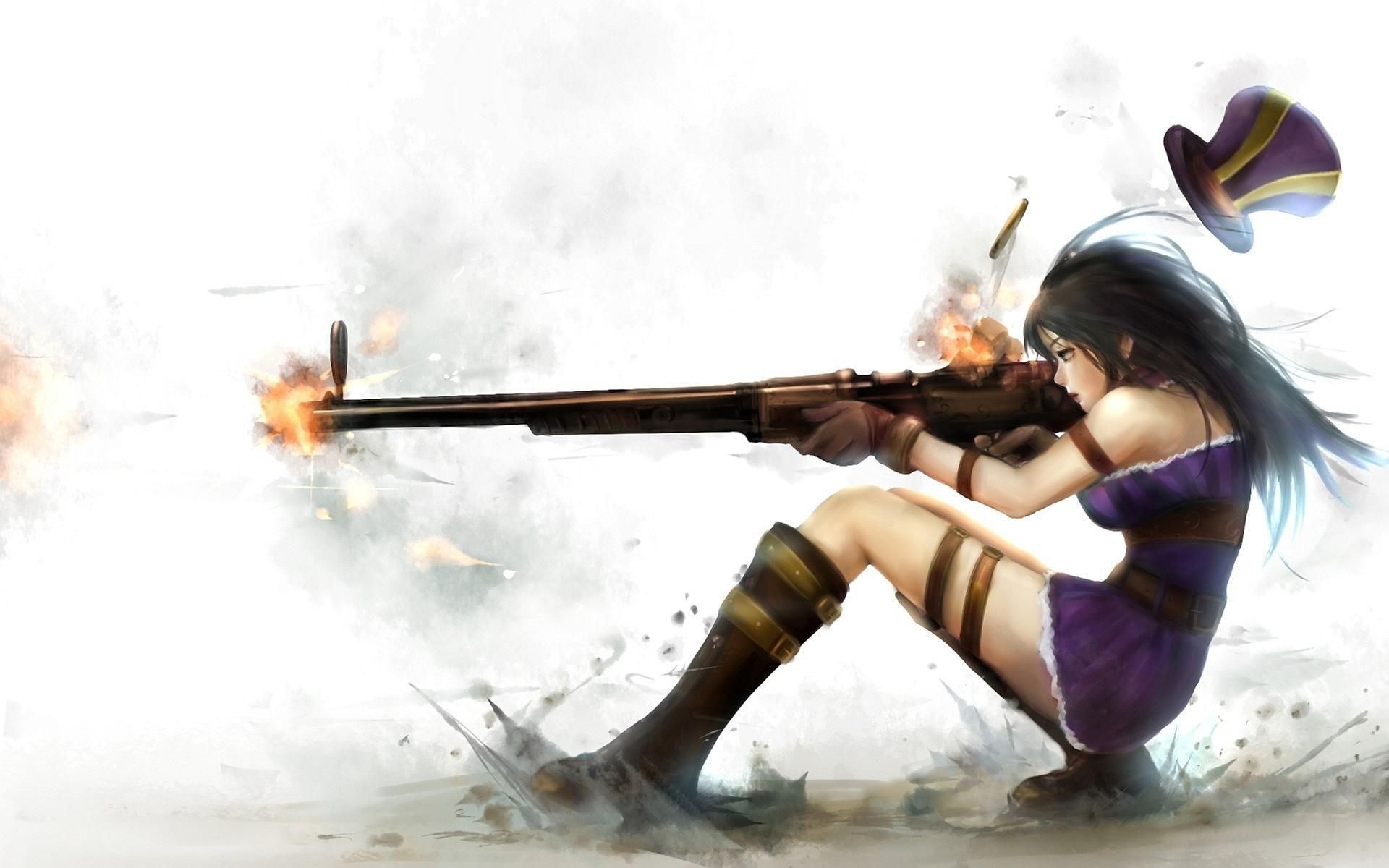 Anime anime anime girls Caitlyn (League of Legends) League of  Legends sniper rifle