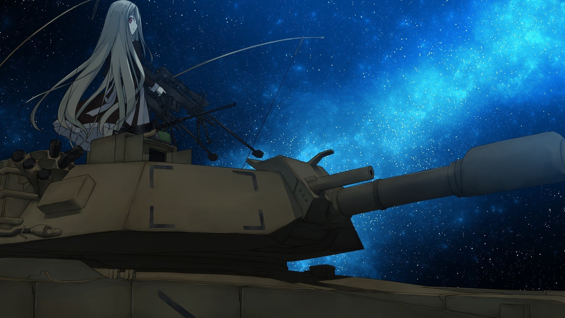 Night stars tanks sniper rifles anime girls skies original characters  wallpaper     285088   WallpaperUP