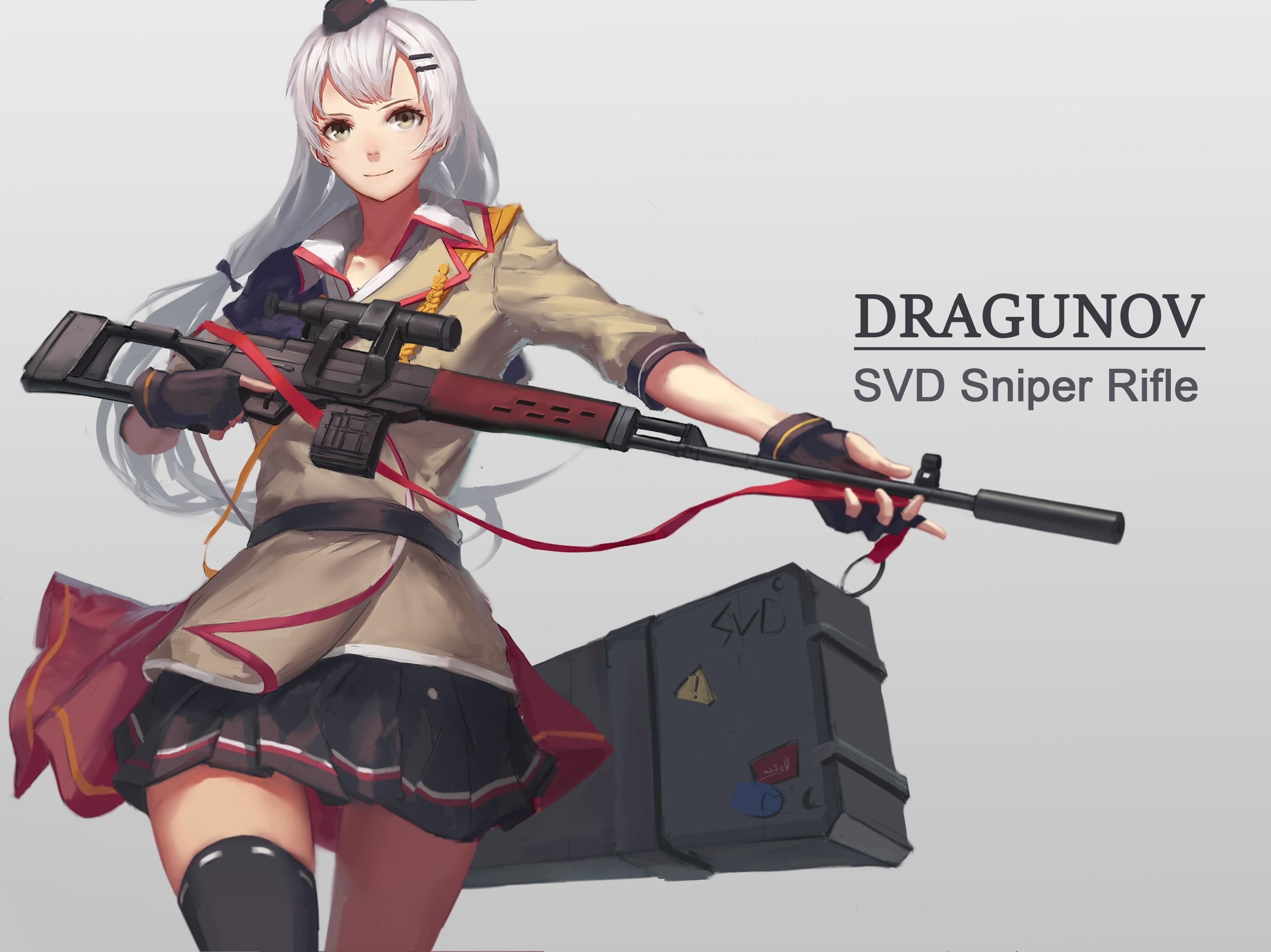 – girls frontline, svd, sniper rifle, white hair, anime style  games