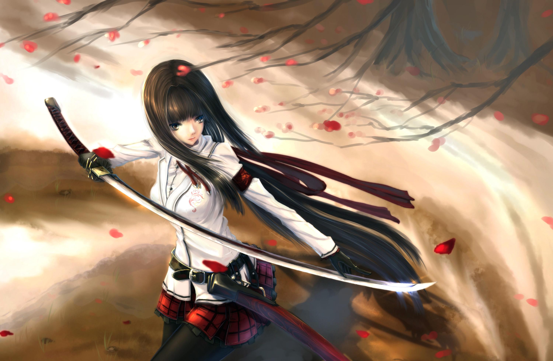 Anime Armor Blonde Girl Long Hair Sword Woman Warrior · HD Wallpaper |  Background ID:670927