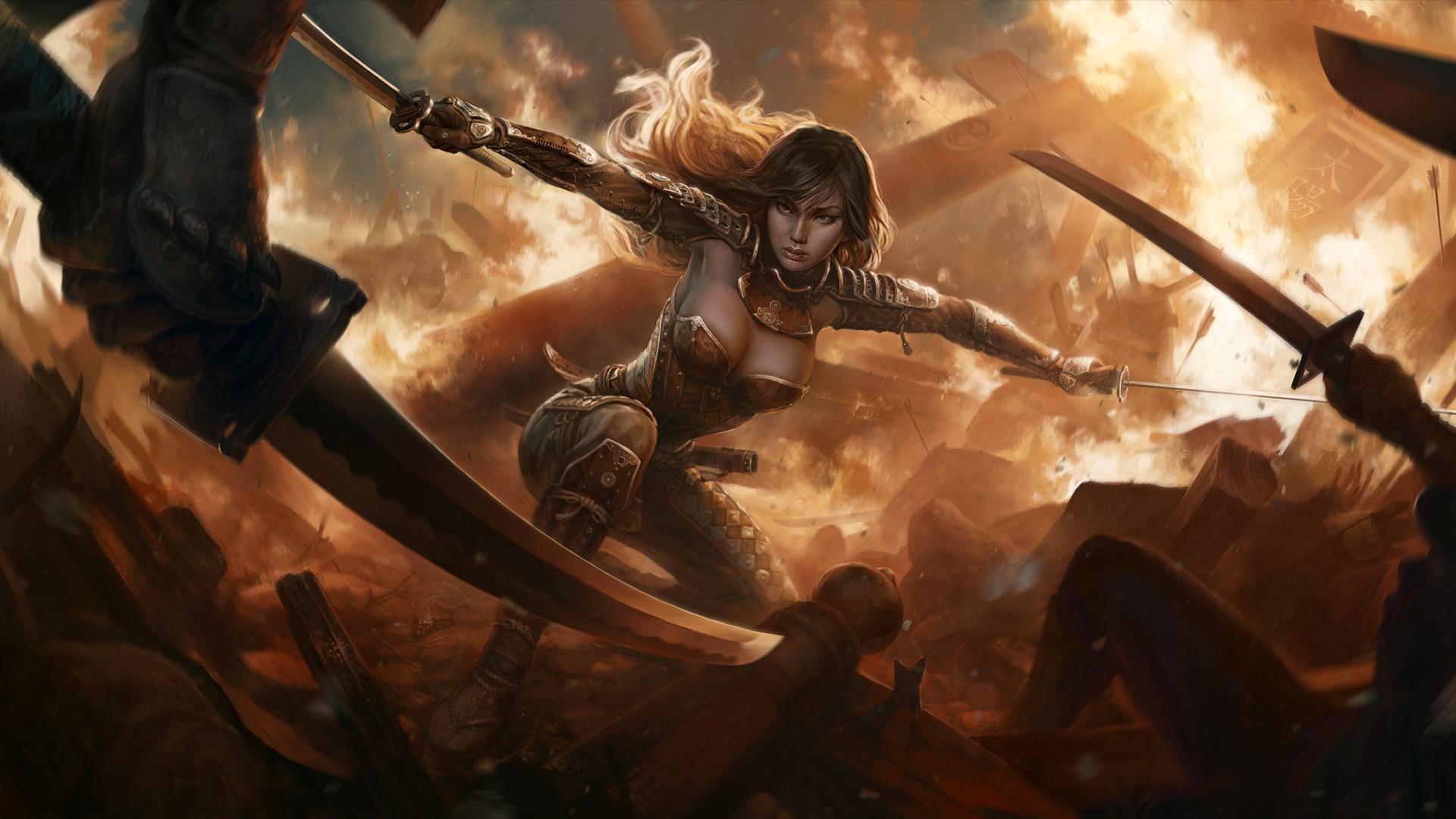 Fantasy Women Warrior Swords HD Wallpaper