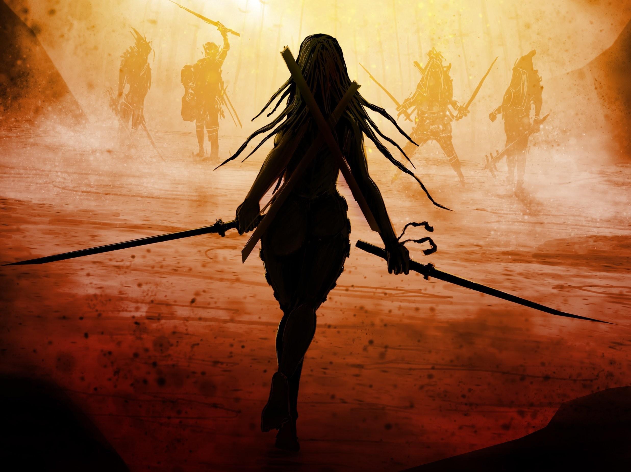fantasy anime warrior guy | Graceful girl, warrior, sword, fog .