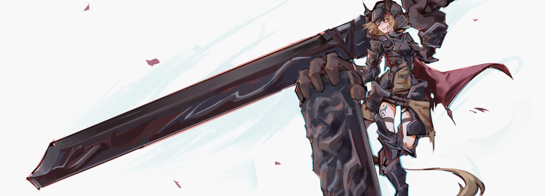 Anime Girl, Warrior, Long Sword, Shield, Armor