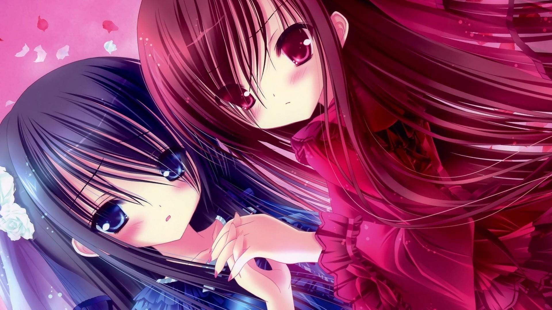 Wallpaper kawaii, anime, girl, friend, person
