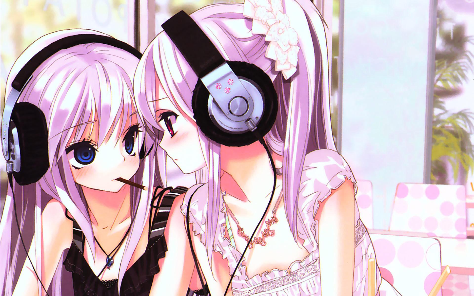 Wallpaper kawaii, cute, earphones, nyashka anime | HD Desktop .