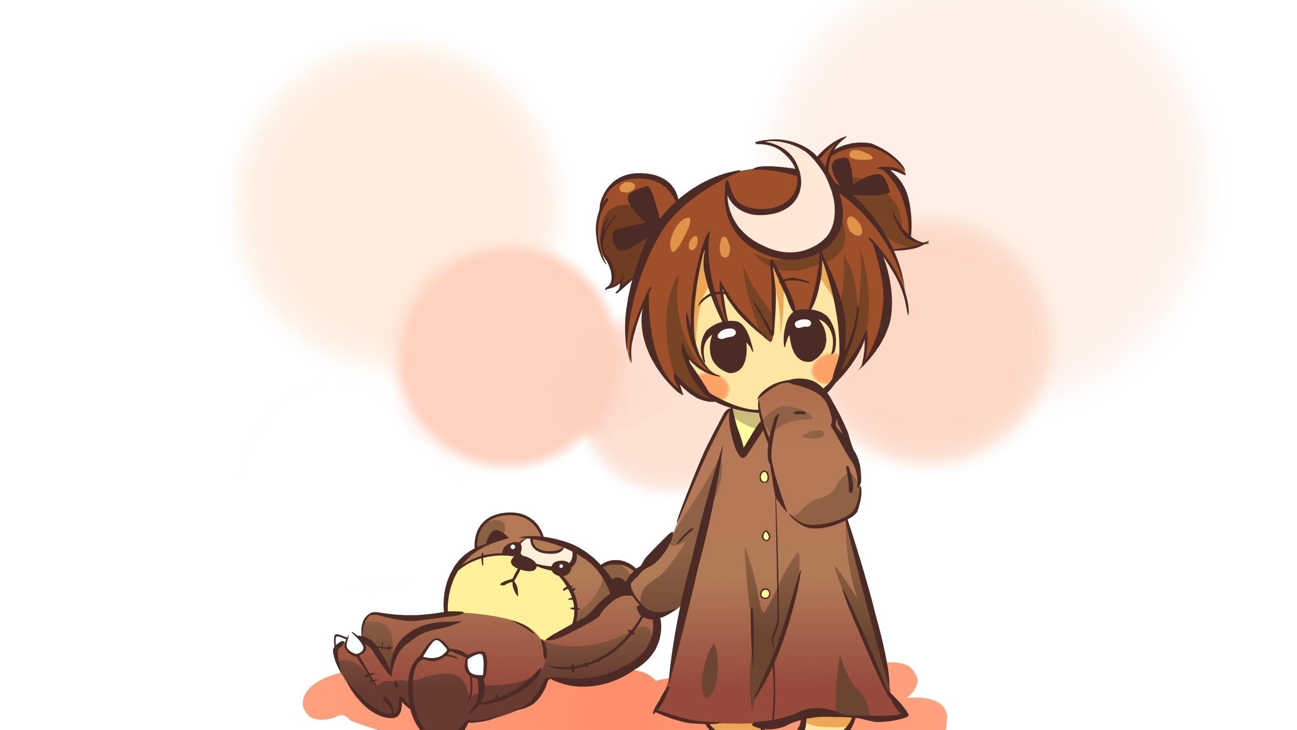 Wallpaper anime, girl, cute, toy, bear, background