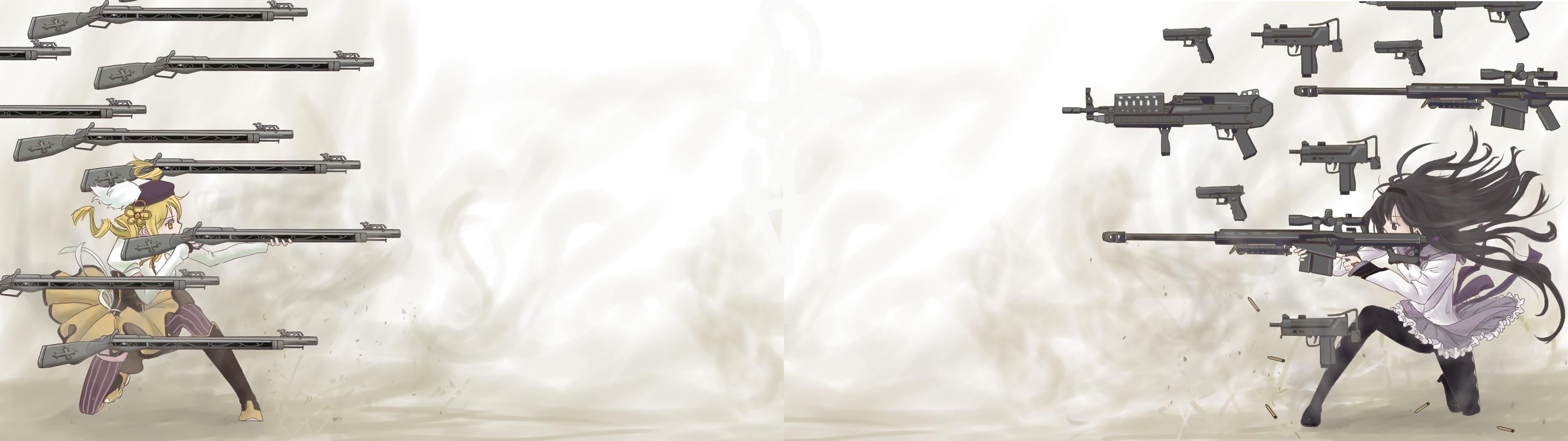 Mami vs Homura [Madoka] [Dual Monitor 3840×1080] …