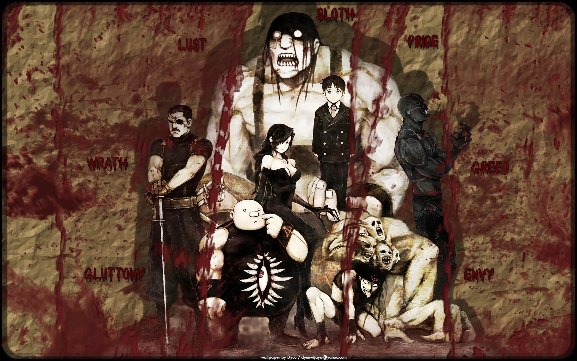 fullmetal alchemist seven deadly sins lust fma gluttony envy wrath .