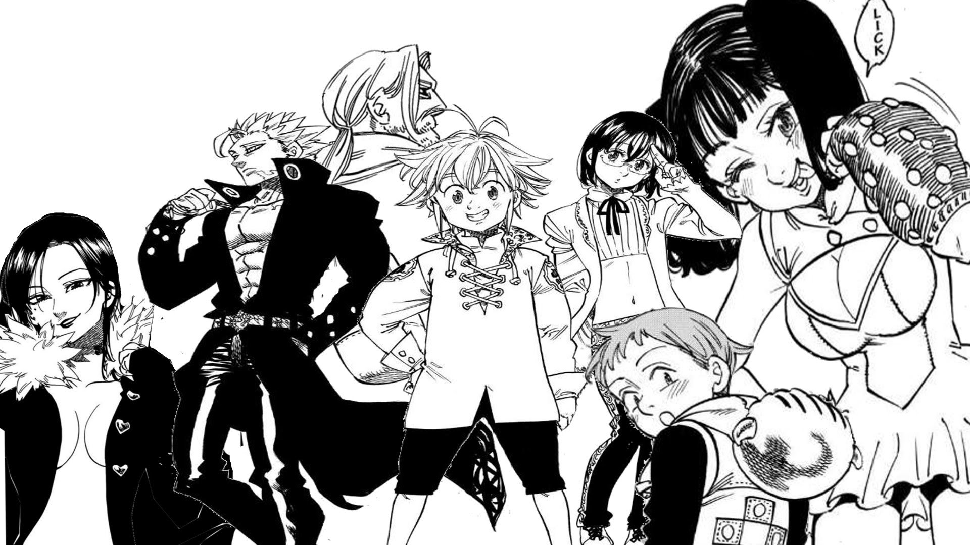 From left to right: Merlin, Ban, Escanor, Meliodas, Gowther, King