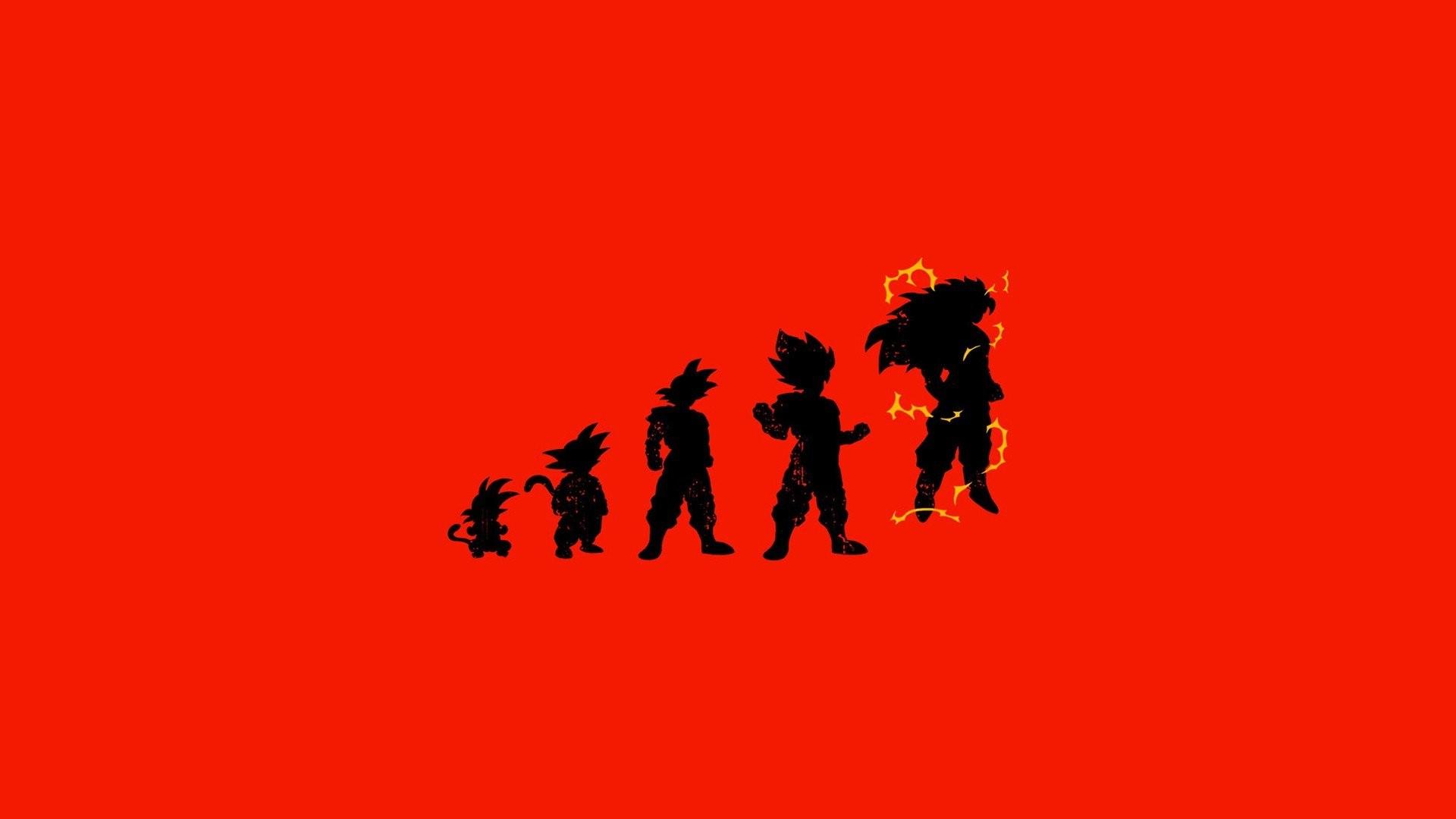 Artwork Minimalistic Red Background Simple Songoku Son Goku Super Saiyan 4