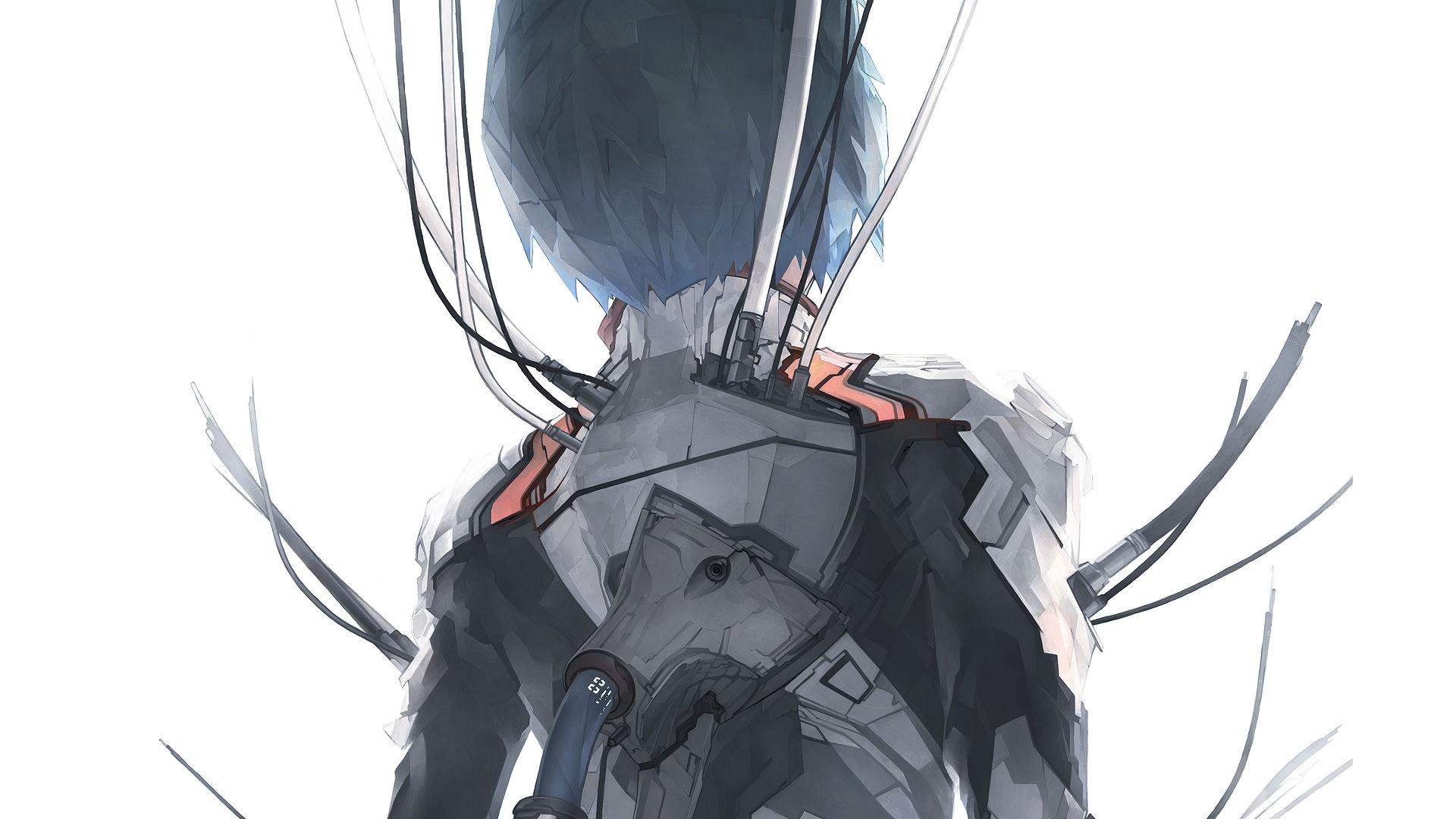 Neon Genesis Evangelion, Ayanami Rei, Wires, Solo, Simple Background  wallpaper thumb