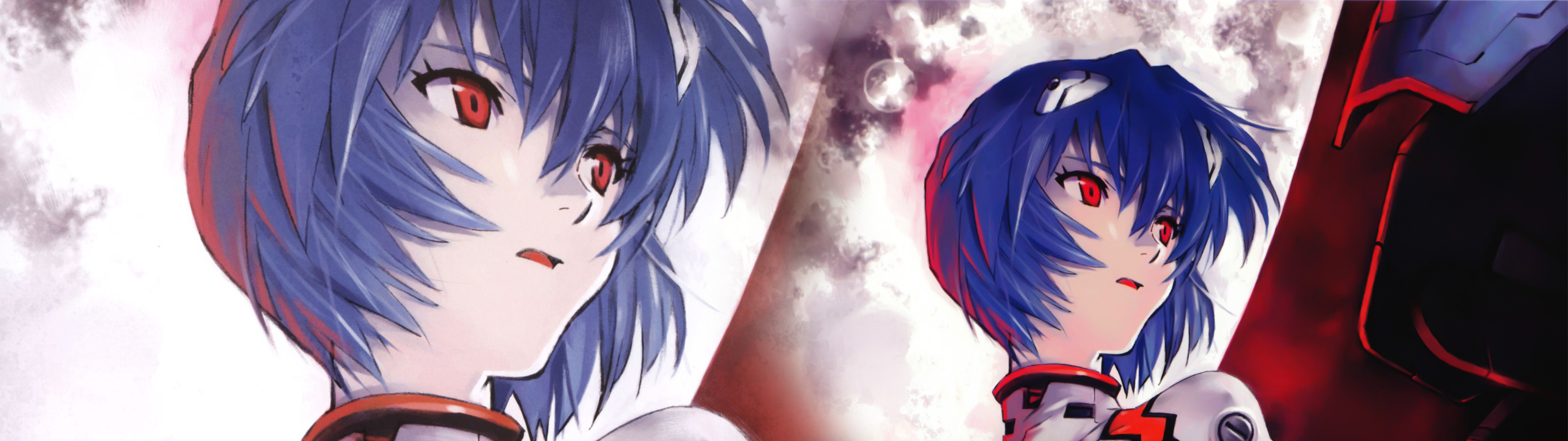 Ayanami Rei, Neon Genesis Evangelion, Moon, Face, Anime Girls, Sitting,