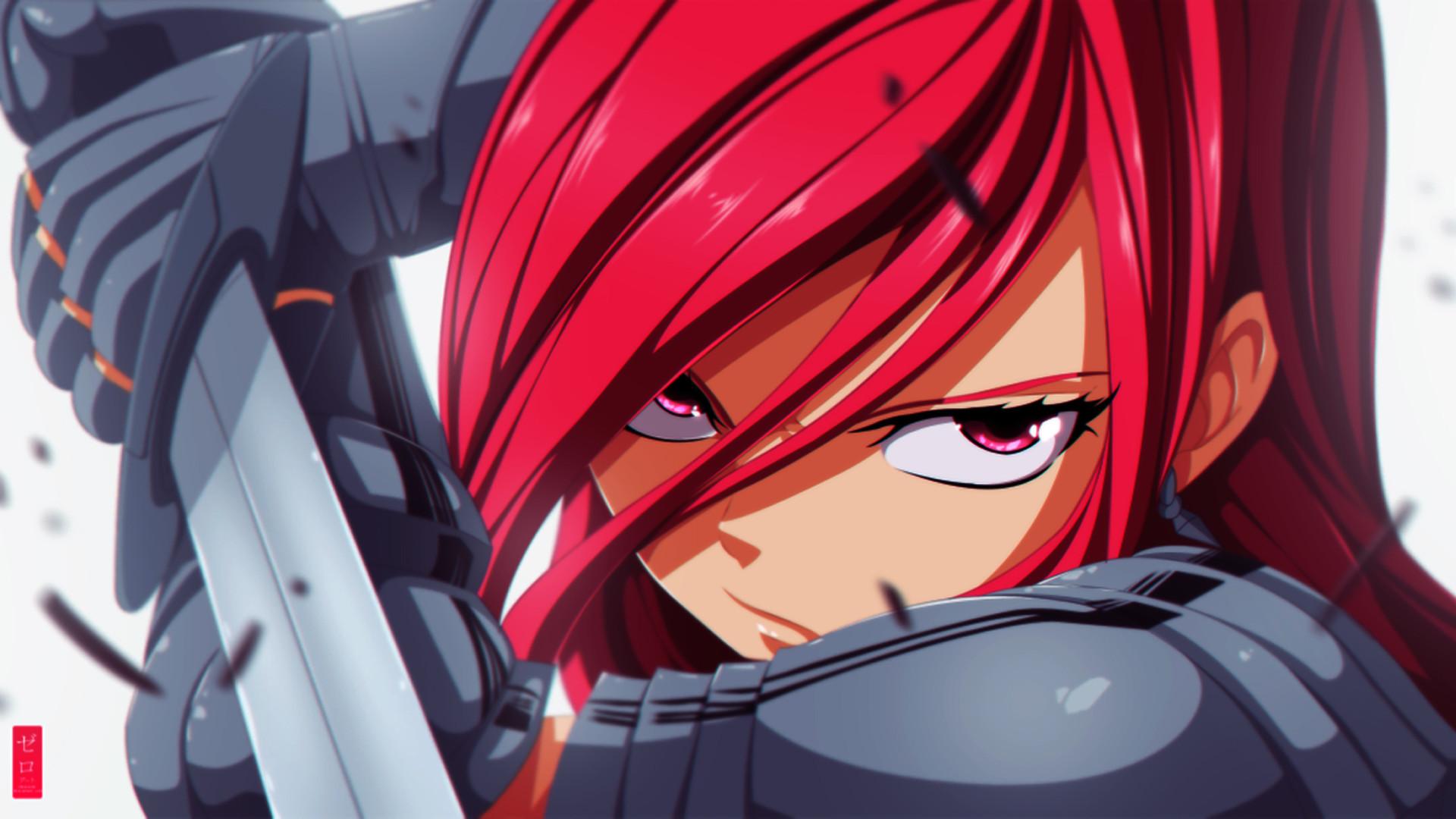 erza scarlet fairy tail anime girl glare armor sword