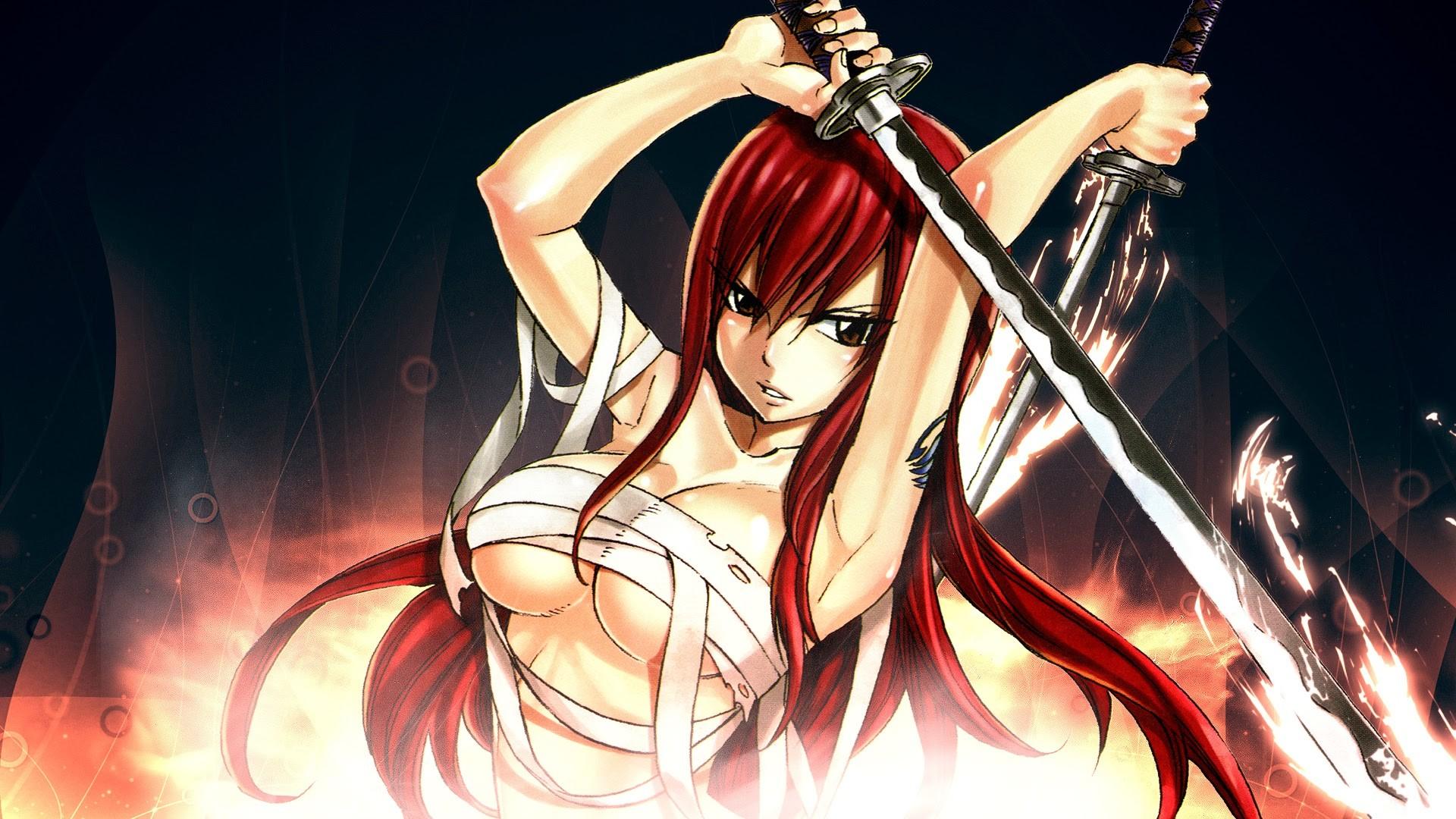 erza scarlet fairy tail anime girl hd wallpaper 7b