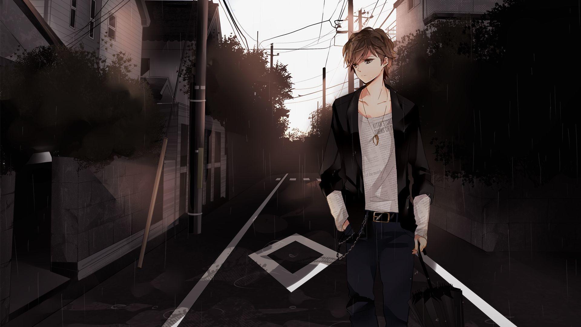 Sad Anime Boy Image 1080p
