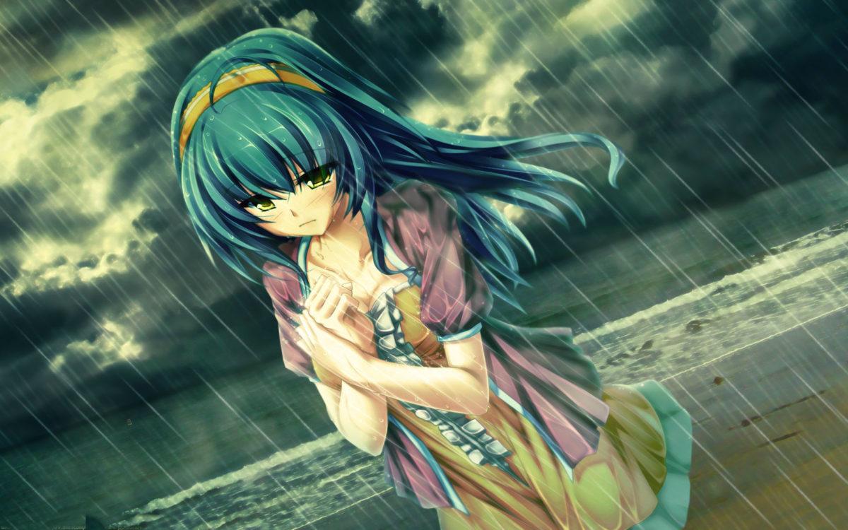 Sad Anime Girl Crying In Rain Alone