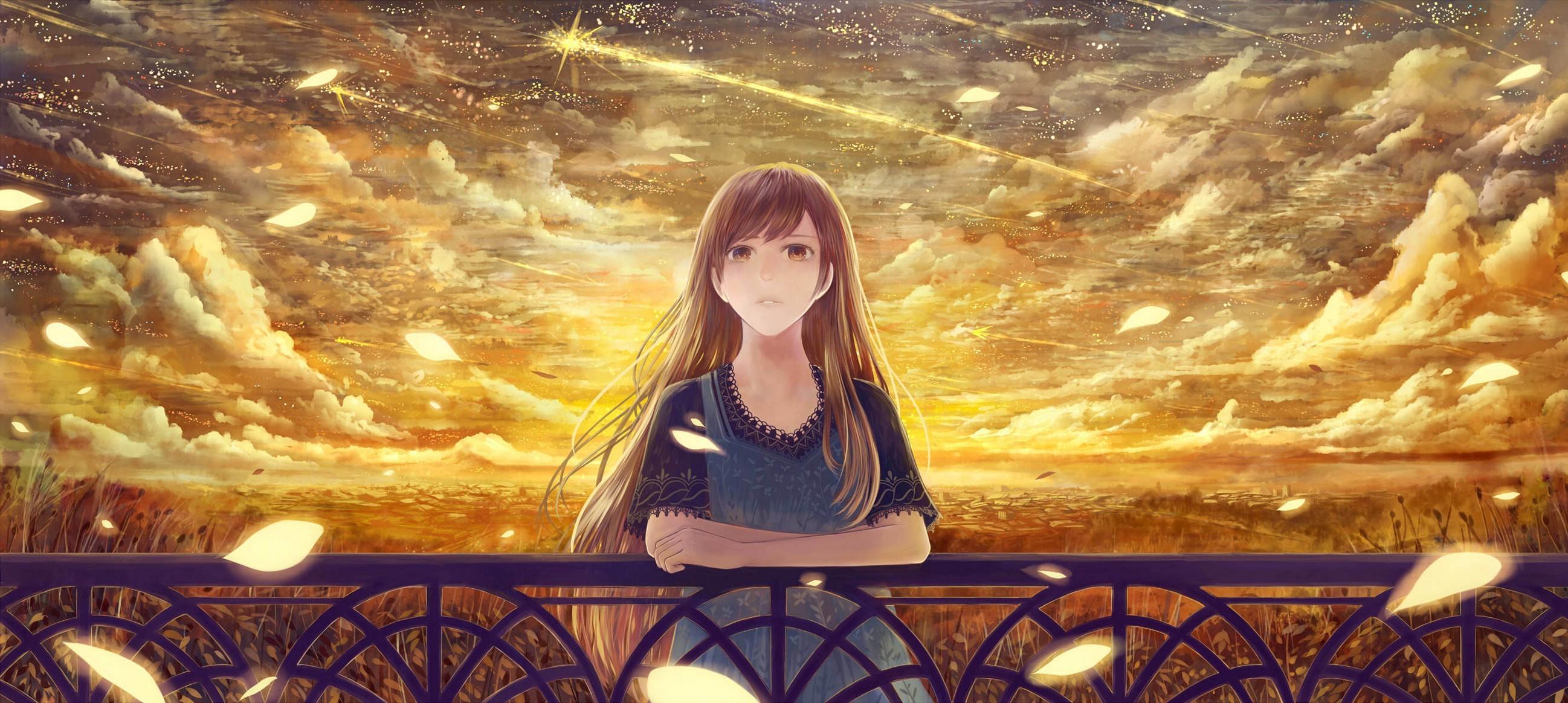 Girl Fence Starry Sky Majestic Sad Anime Wallpaper